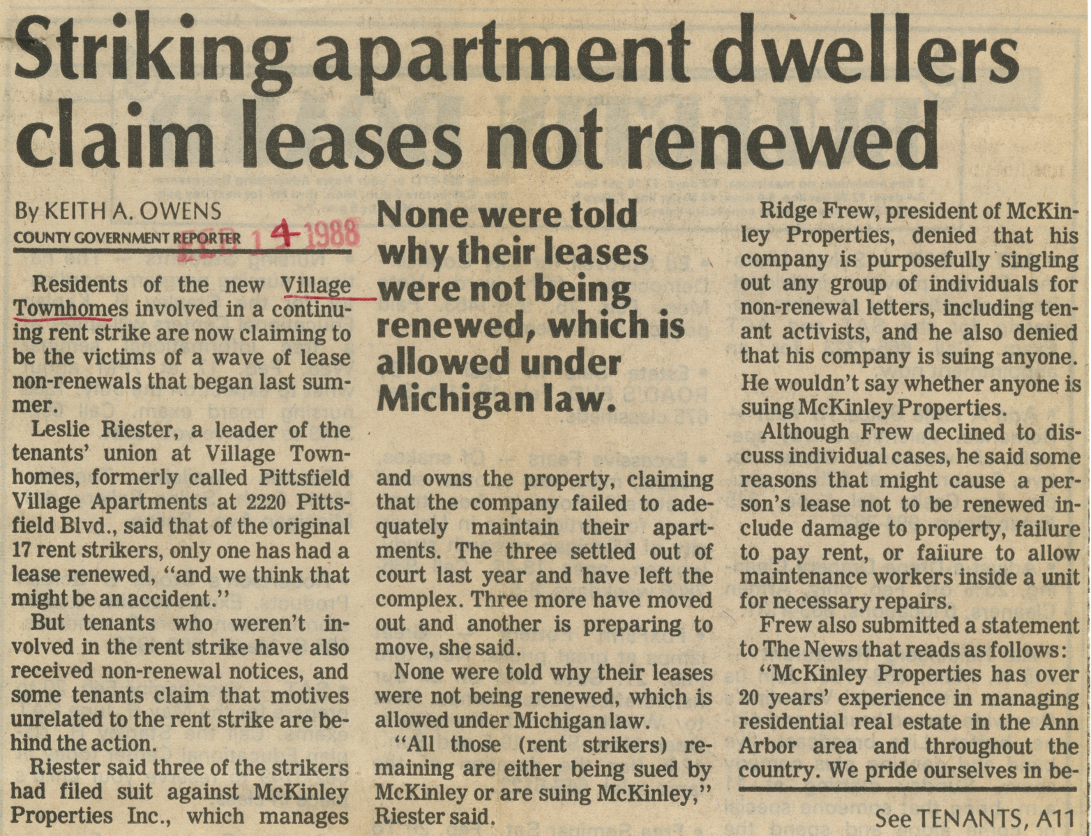 Striking apartment dwellers claim leases not renewed image