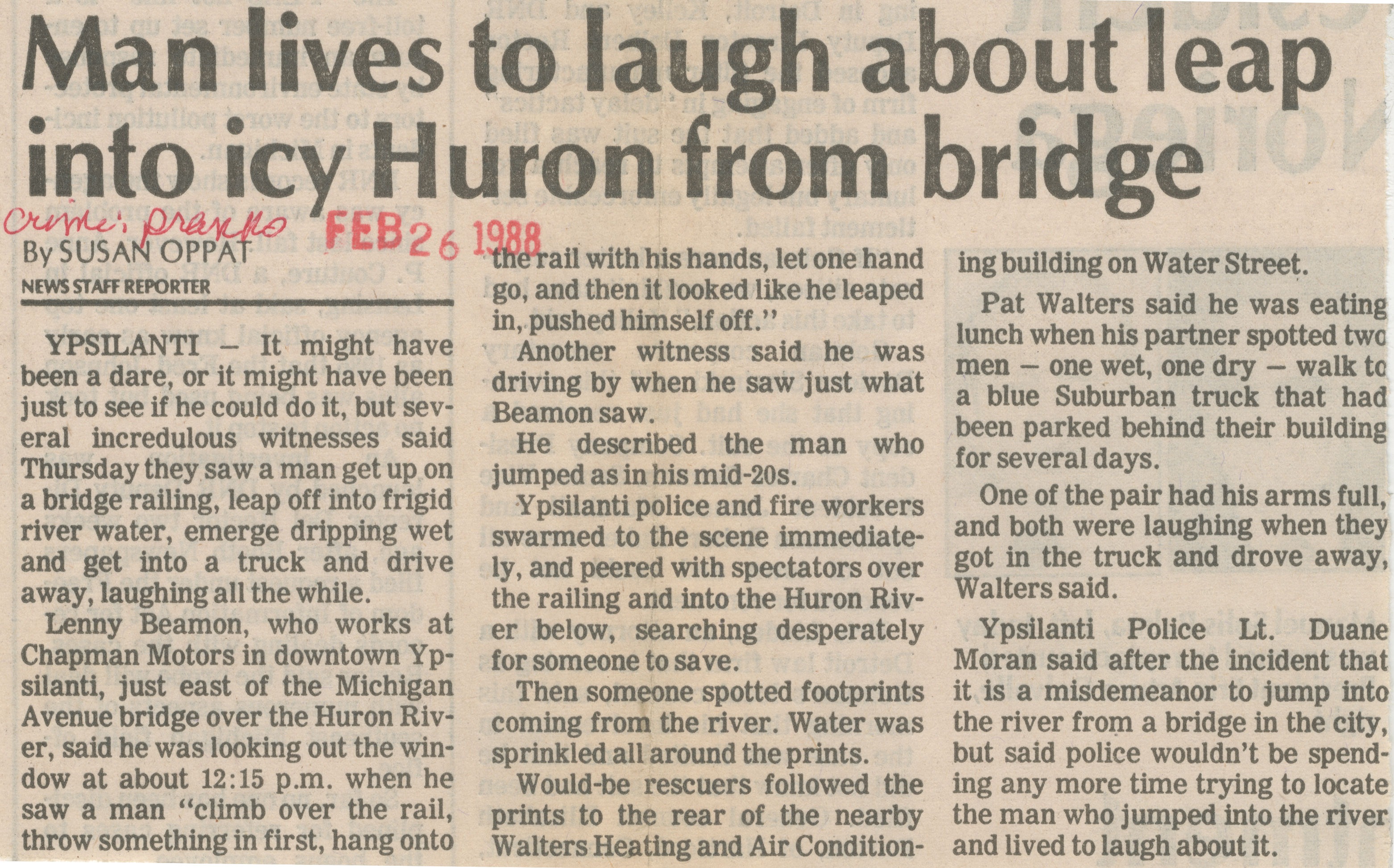 Man lives to laugh about leap into icy Huron from bridge image