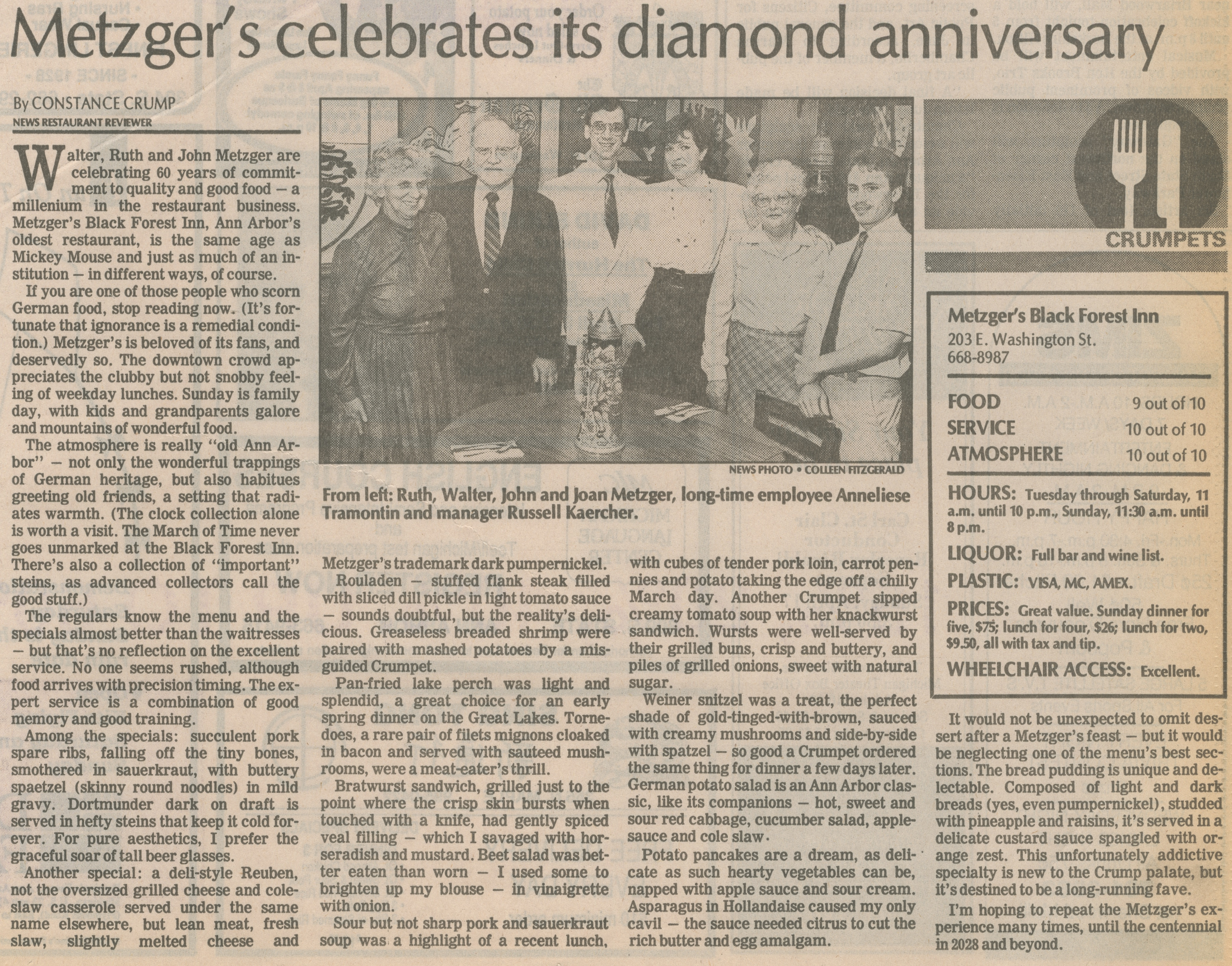 Metzger's Celebrates Its Diamond Anniversary image