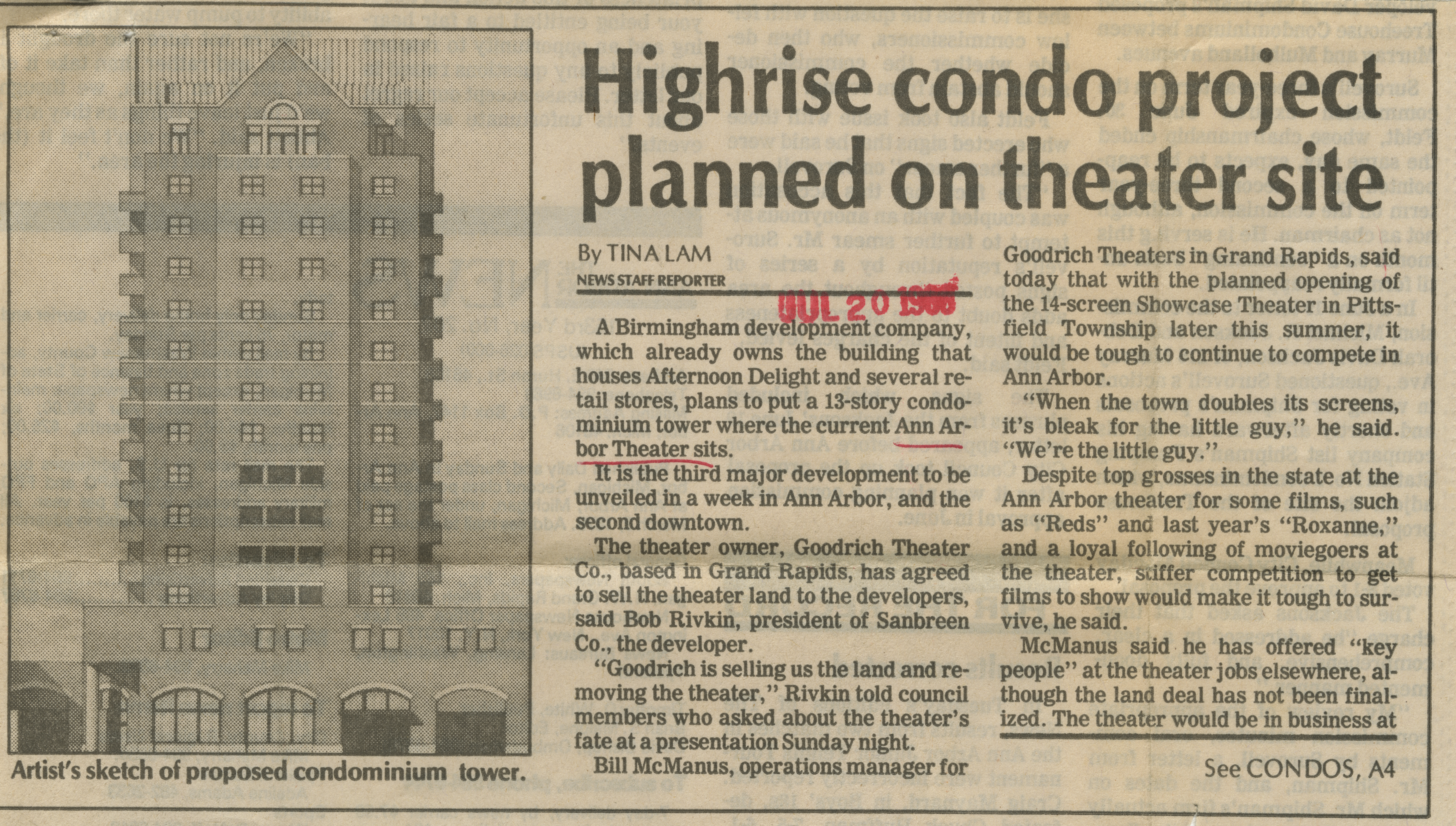 Highrise condo project planned on theater site image