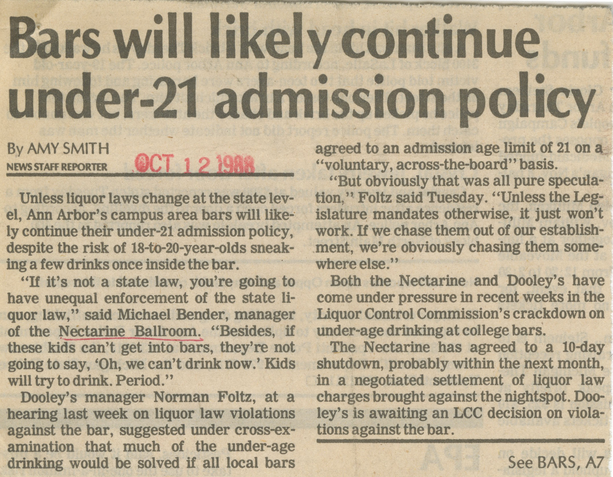 Bars will likely continue under-21 admission policy image