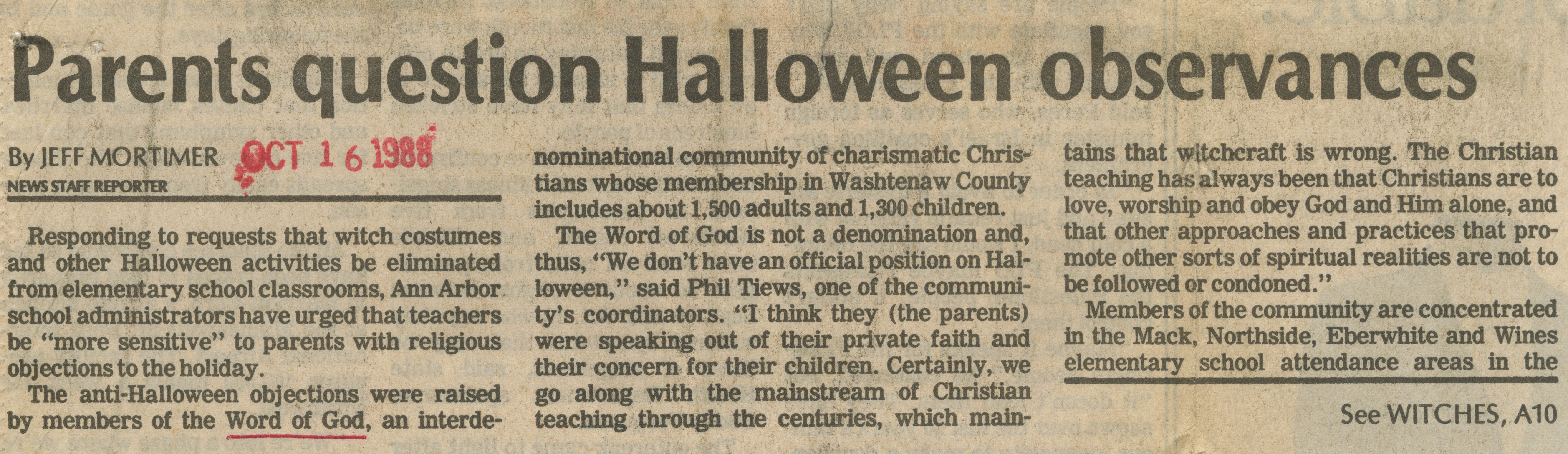 Parents Question Halloween Observances image