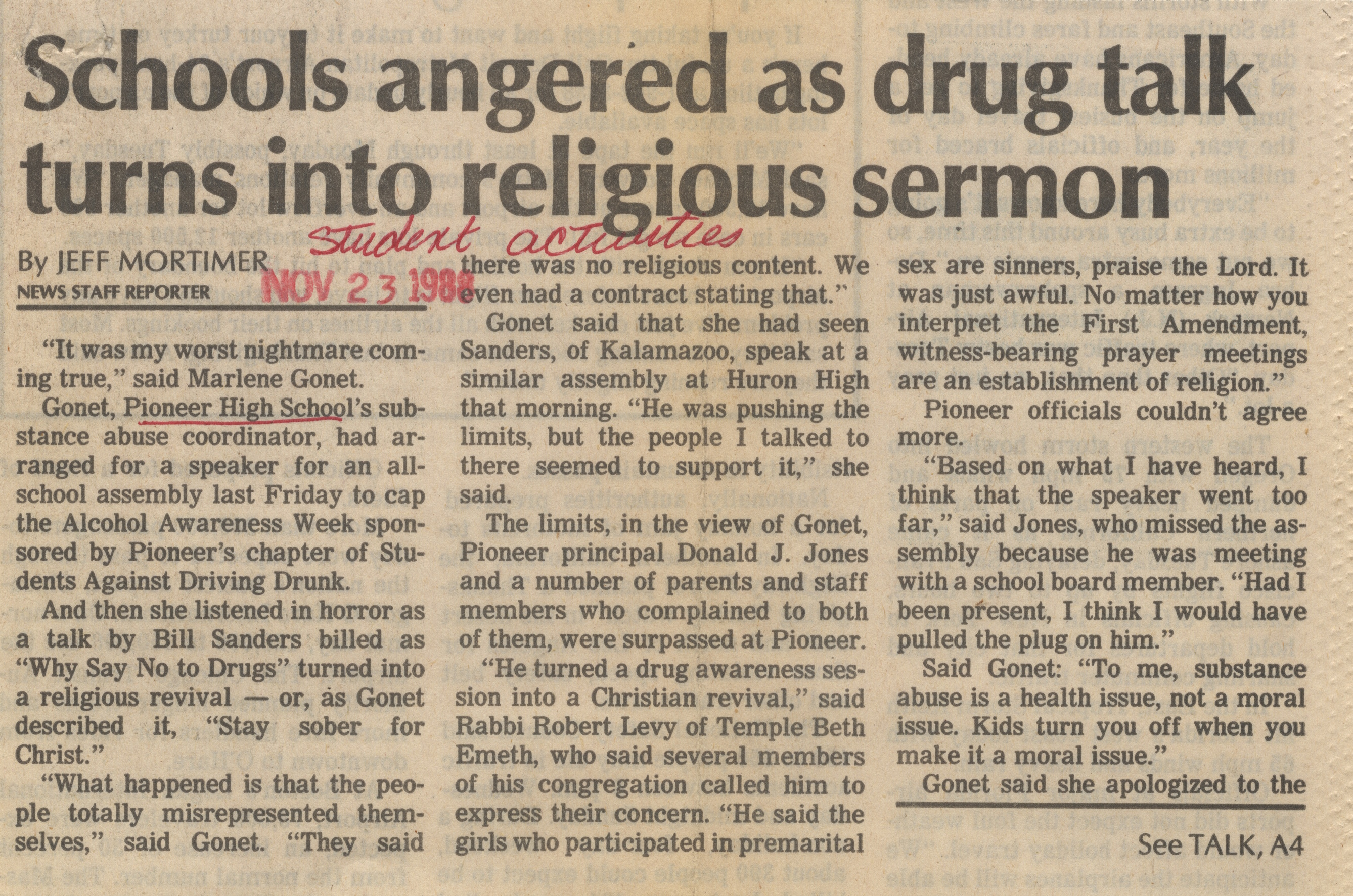 Schools Angered As Drug Talk Turns Into Religious Sermon image