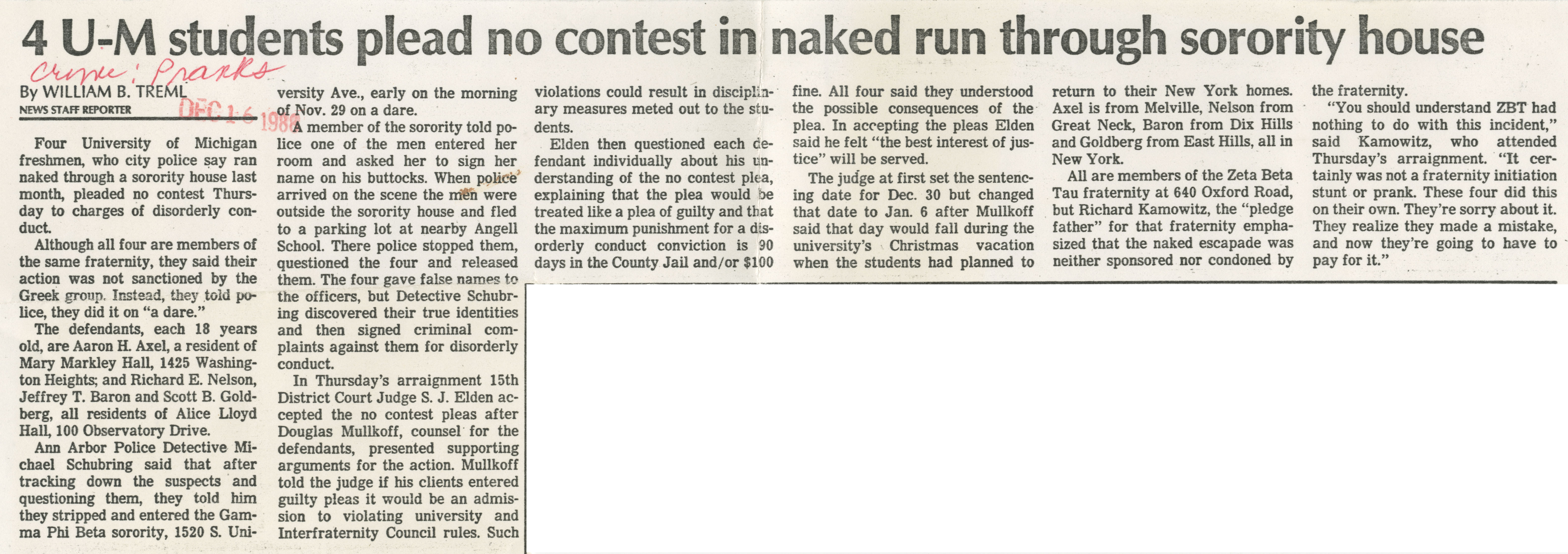 4 U-M Student Please No Contest In Naked Run Through Sorority House image