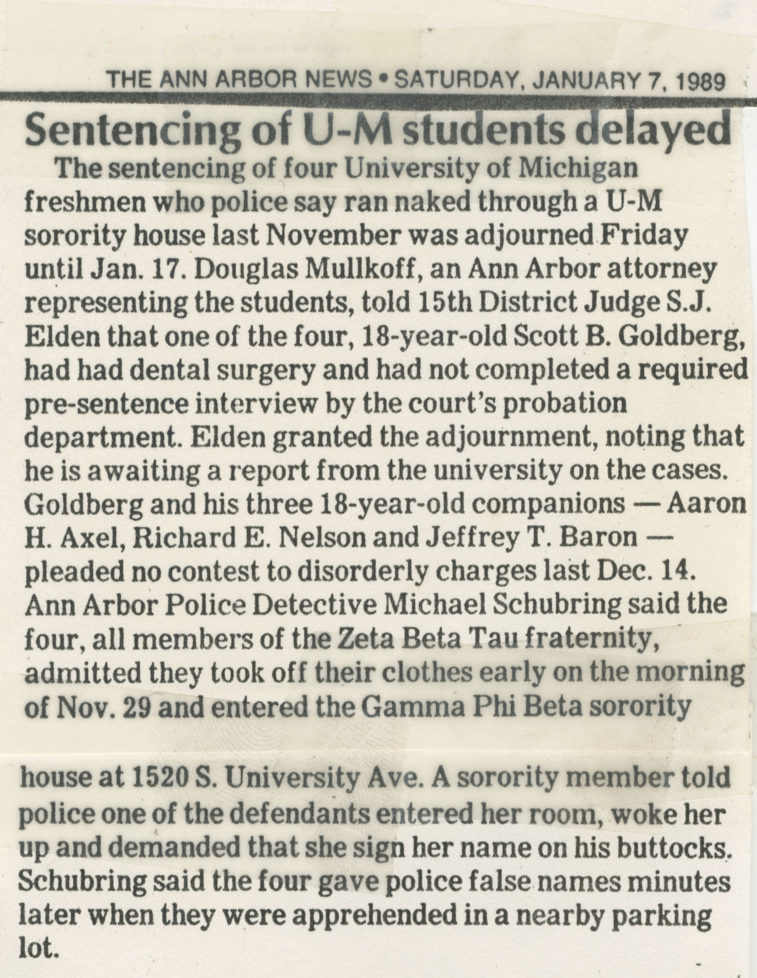 Sentencing Of U-M Students Delayed image