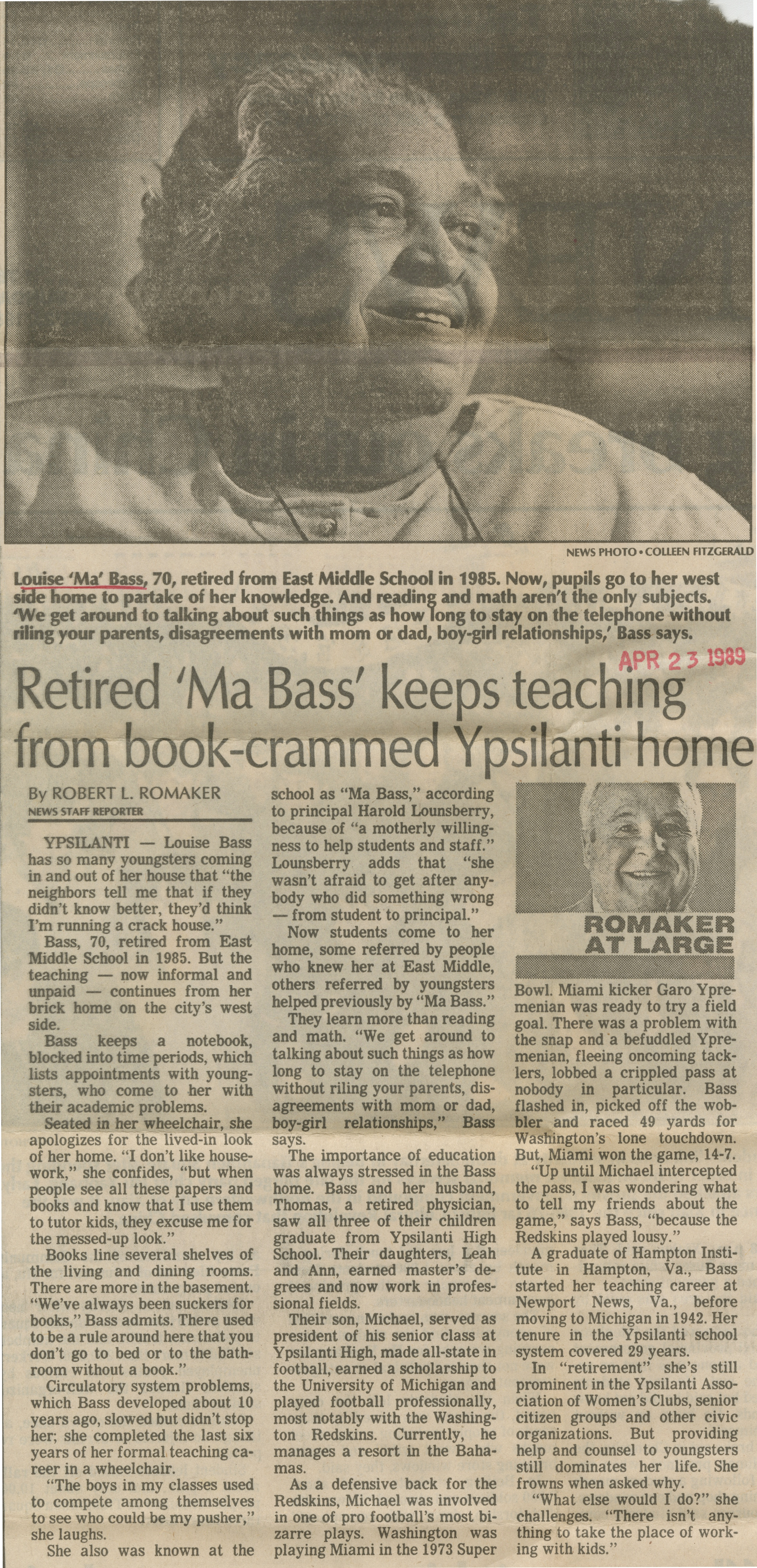 Retired 'Ma Bass' keeps teaching from book-crammed Ypsilanti home image