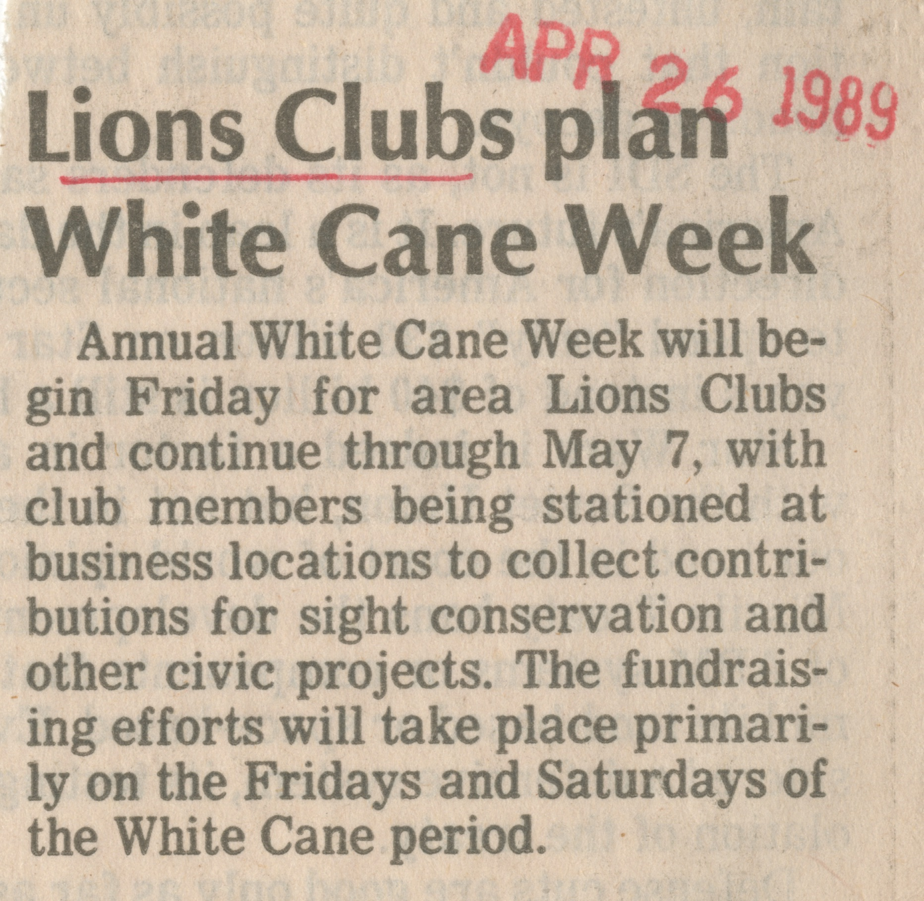 Lions Clubs plan White Cane week image