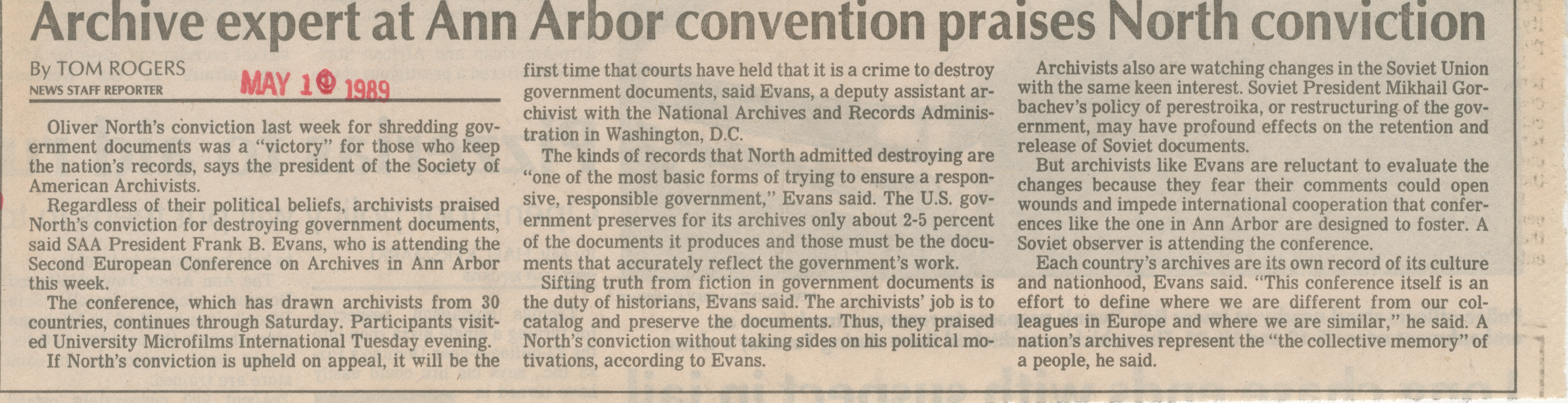 Archive Expert At Ann Arbor Convention Praises North Conviction  image