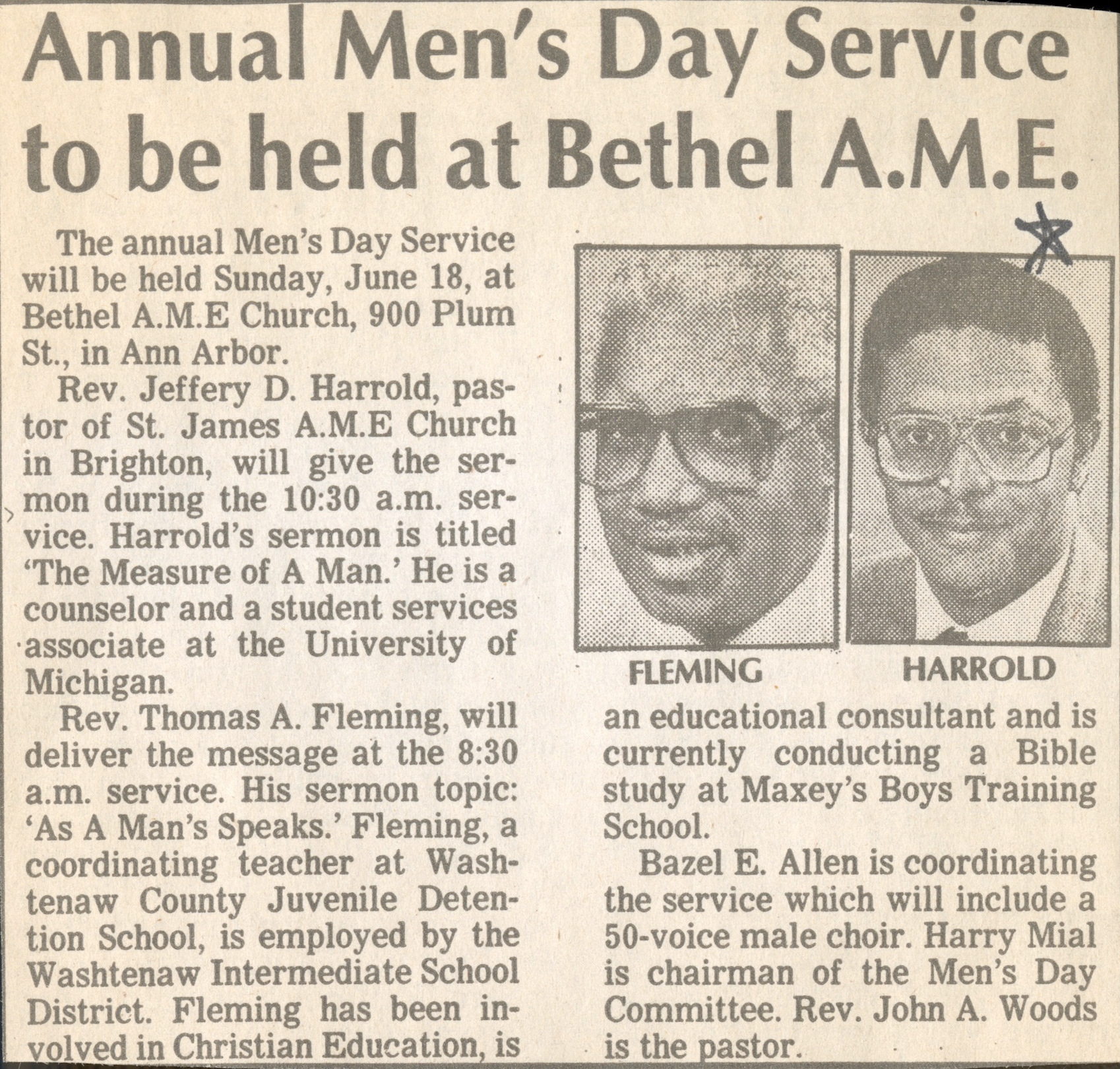 Annual Men's Day Service to be held at Bethel A.M.E. image