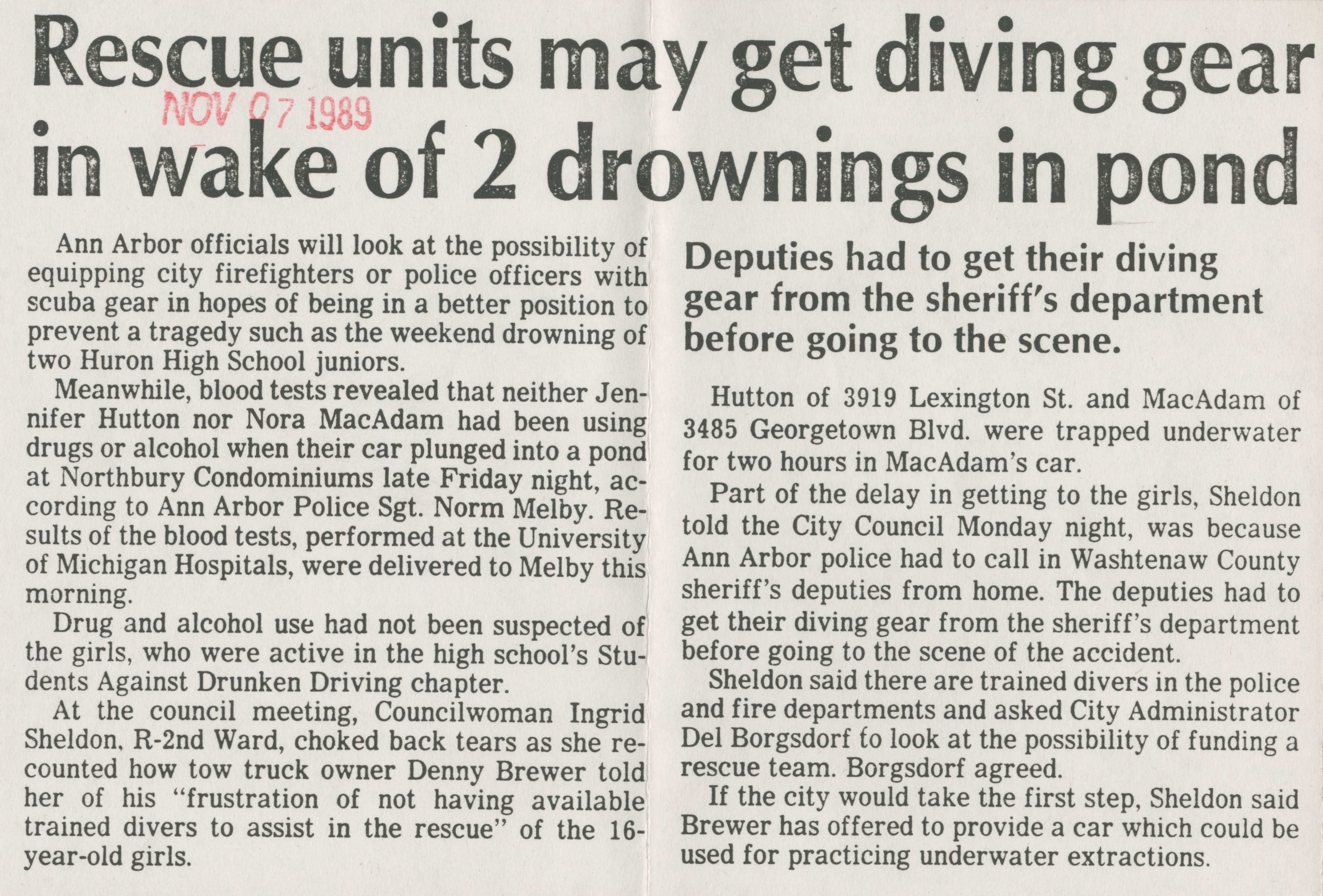 Rescue units may get diving gear in wake of 2 drownings in pond image
