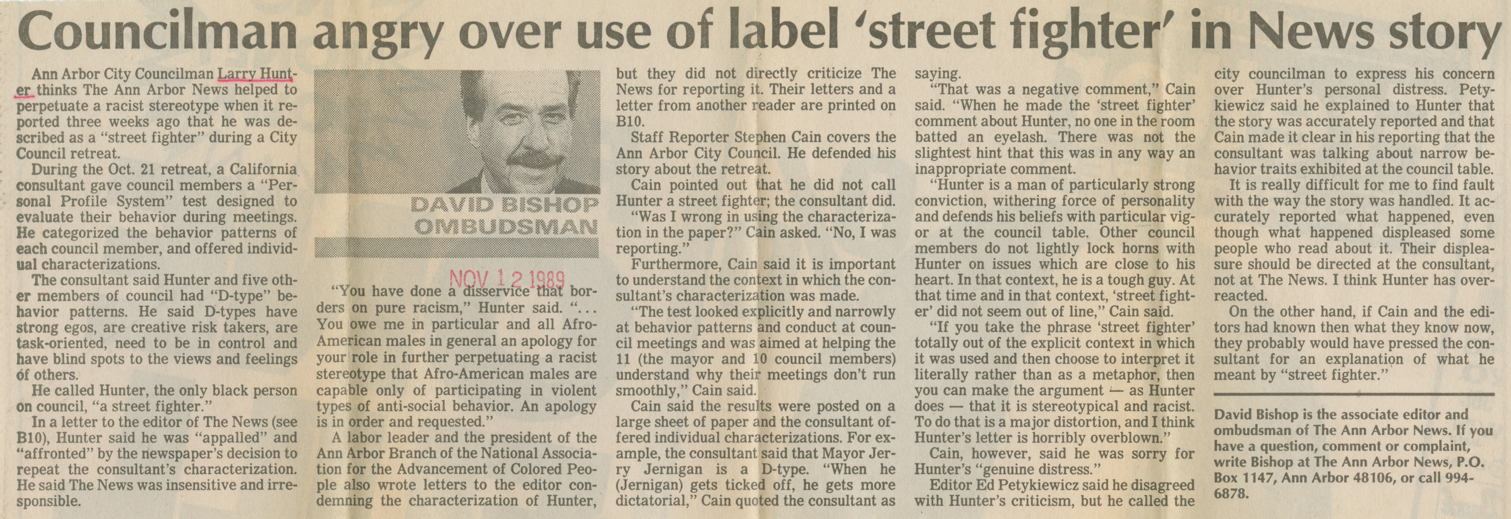 Councilman angry over use of label 'street fighter' in News story image