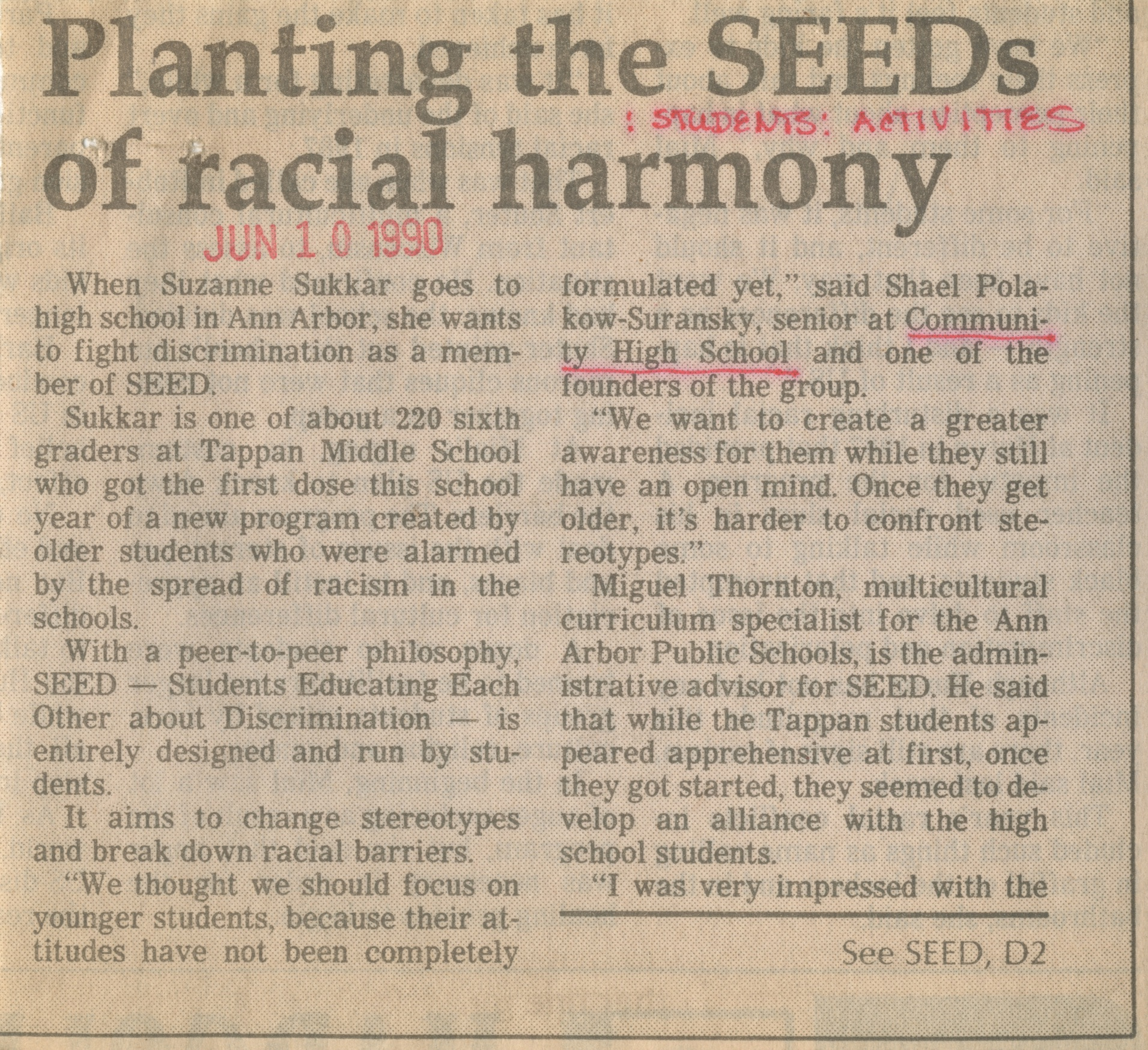 Planting the SEEDS of Racial Harmony image