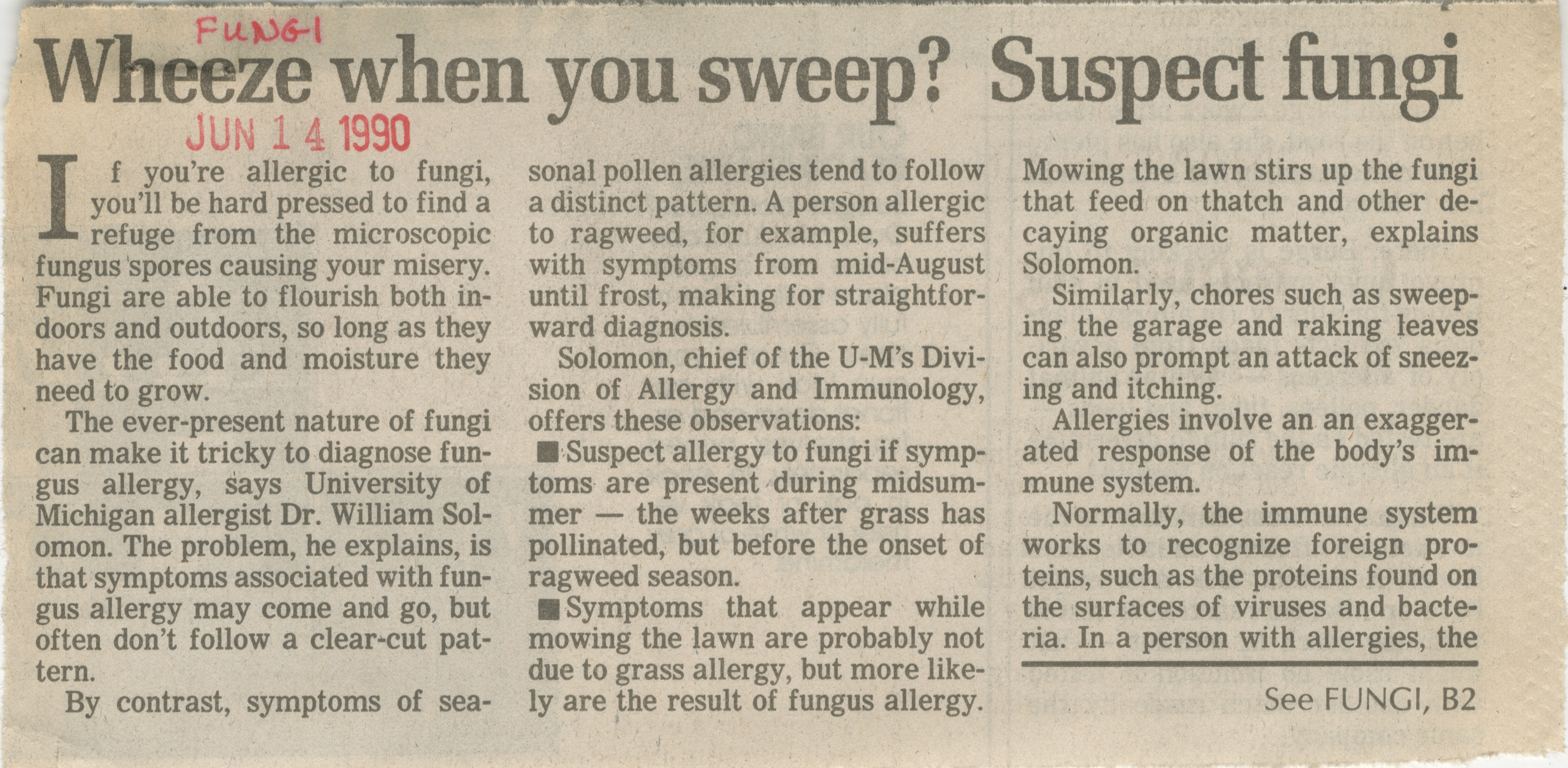 Wheeze When You Sweep? Suspect Fungi image