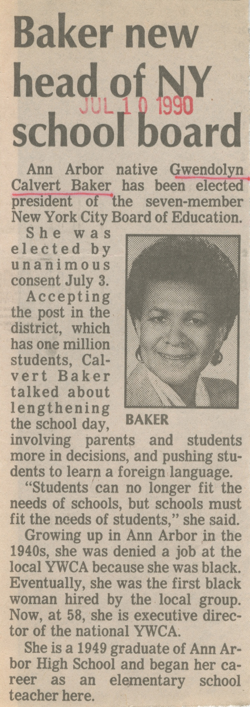 Baker New Head Of NY School Board image