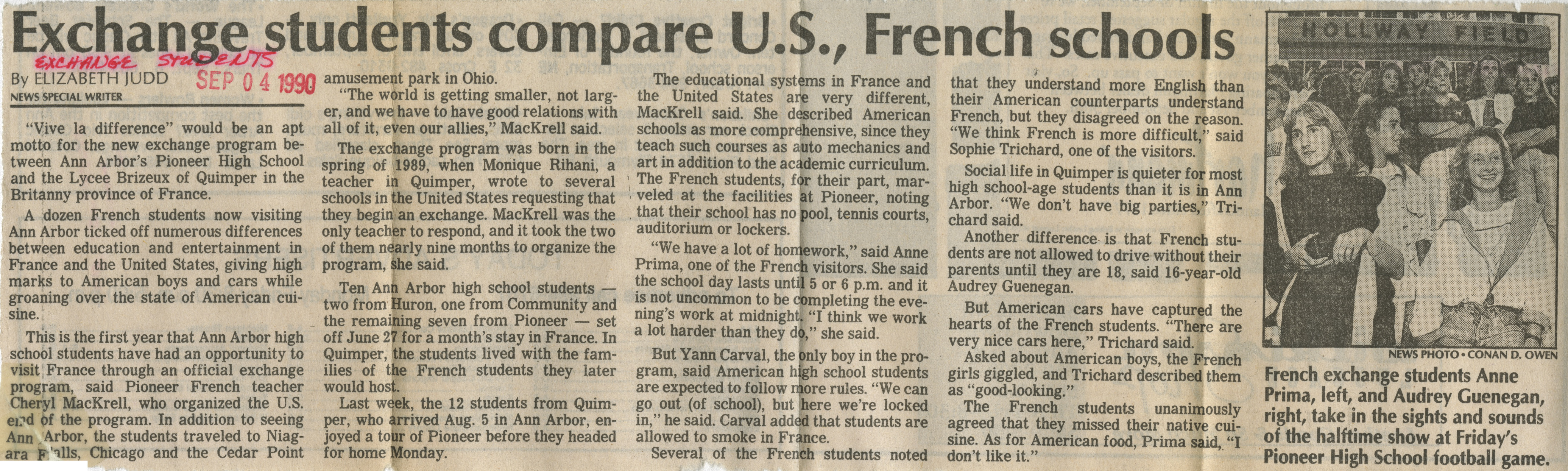 Exchange Students Compare U.S., French Schools image