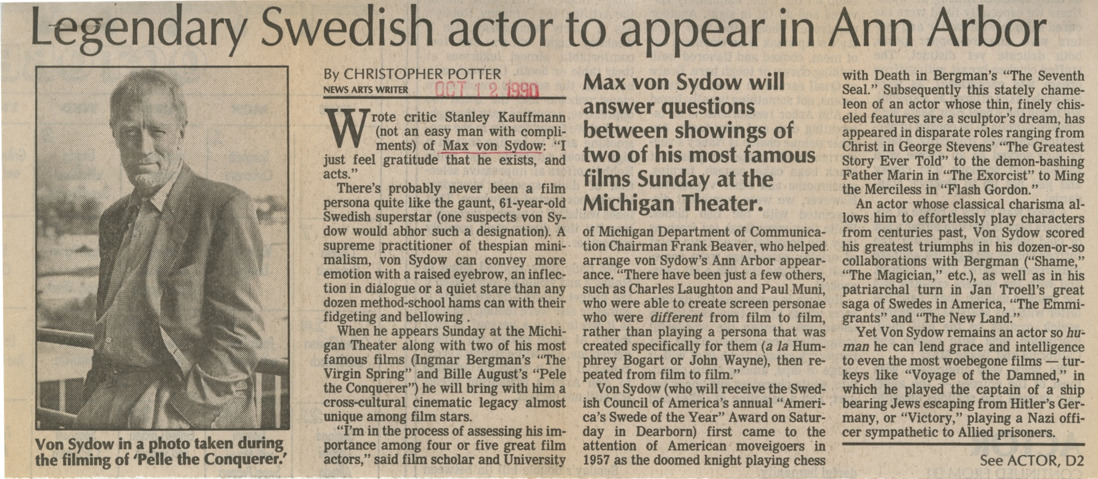 Legendary Swedish actor to appear in Ann Arbor image