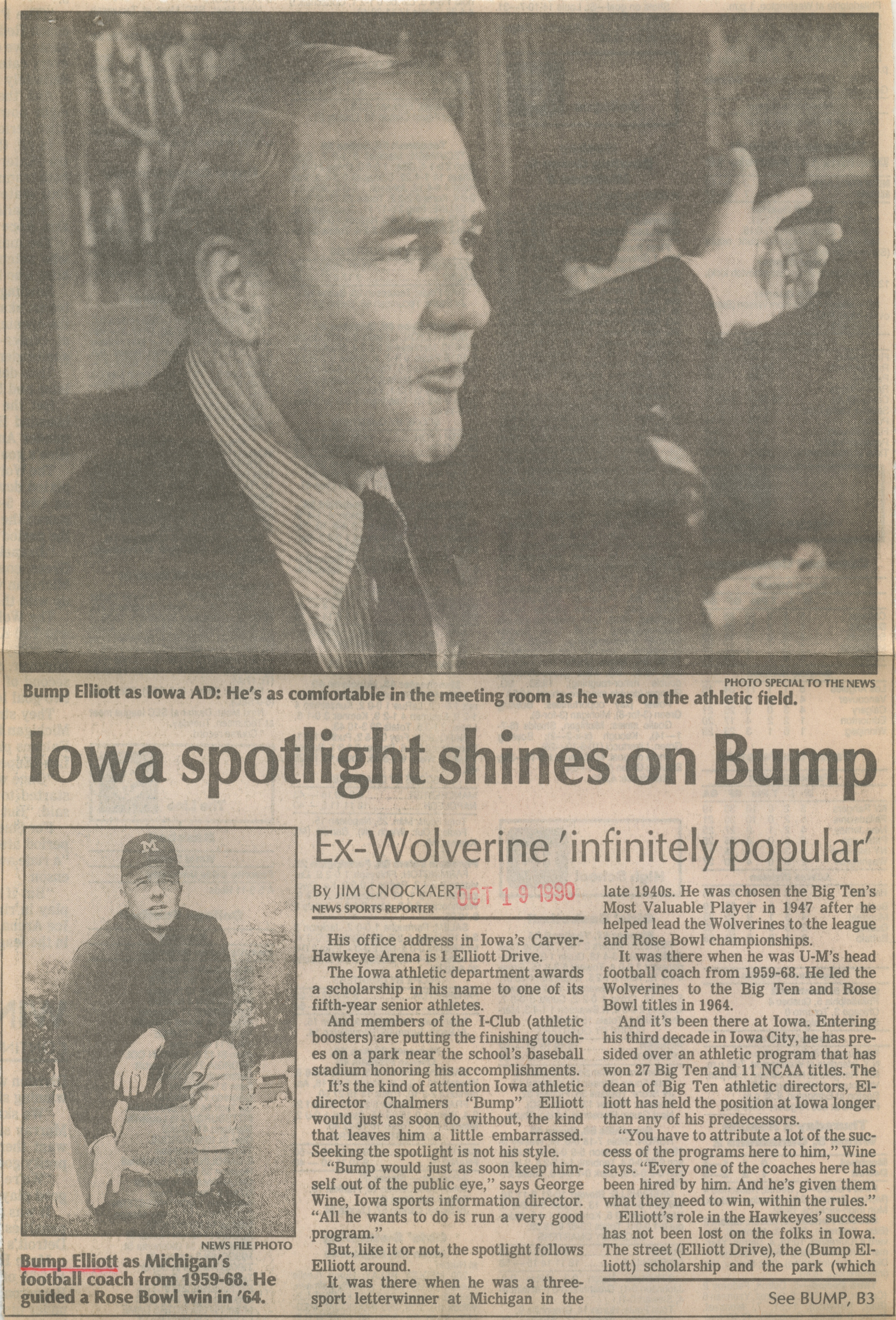 Iowa spotlight shines on Bump image