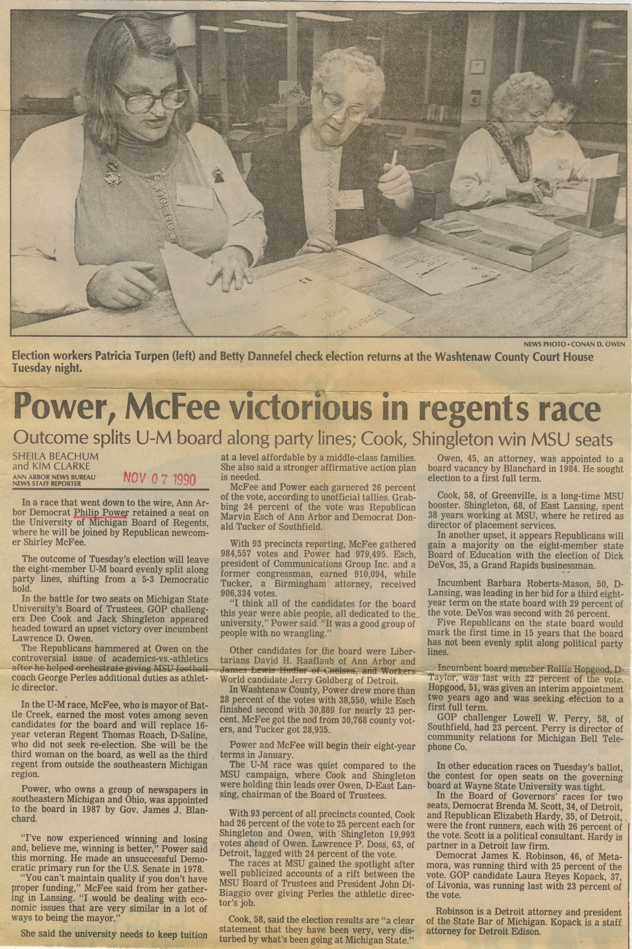 Power, McFee victorious in regents race image