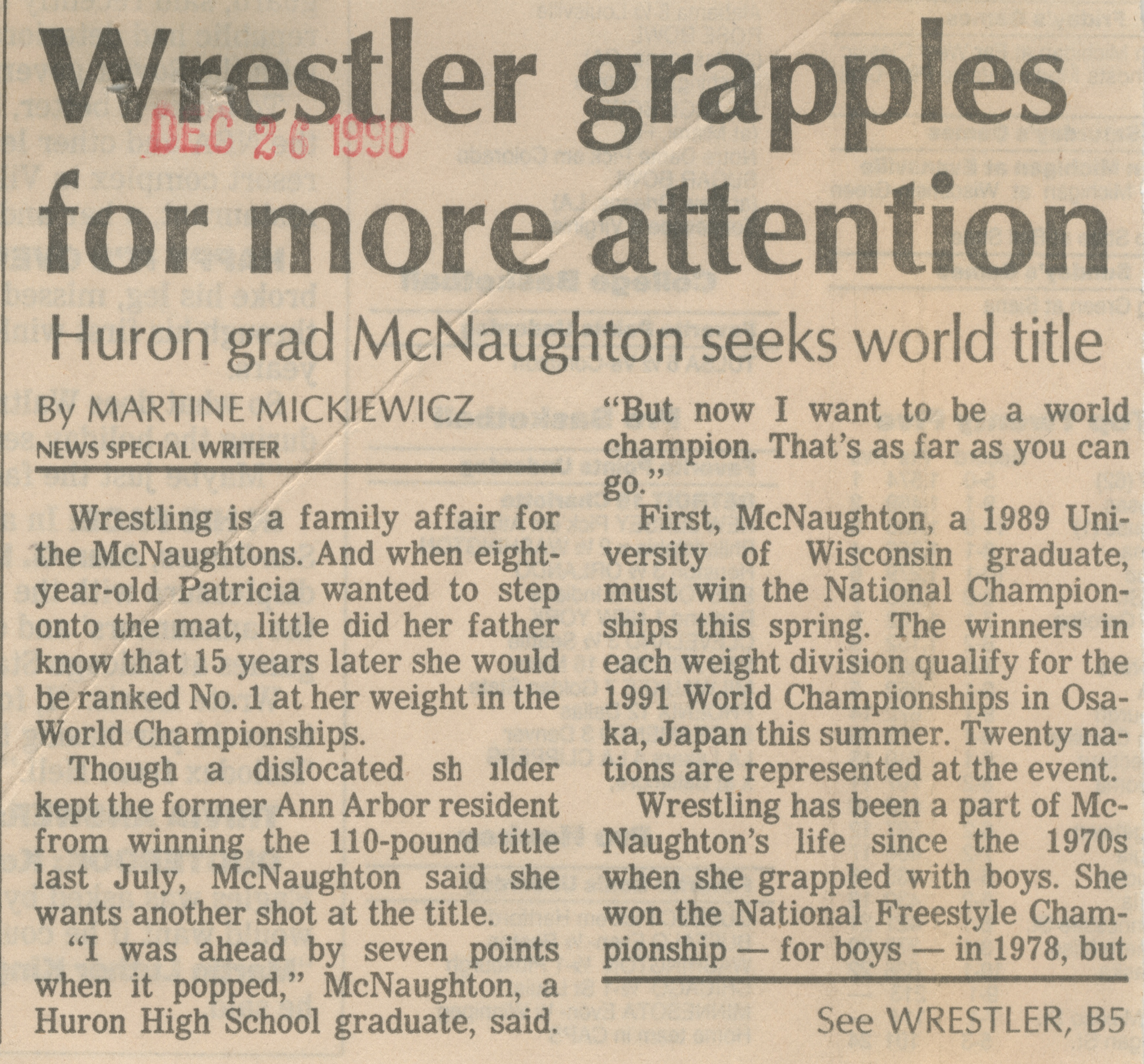 Wrestler grapples for more attention image