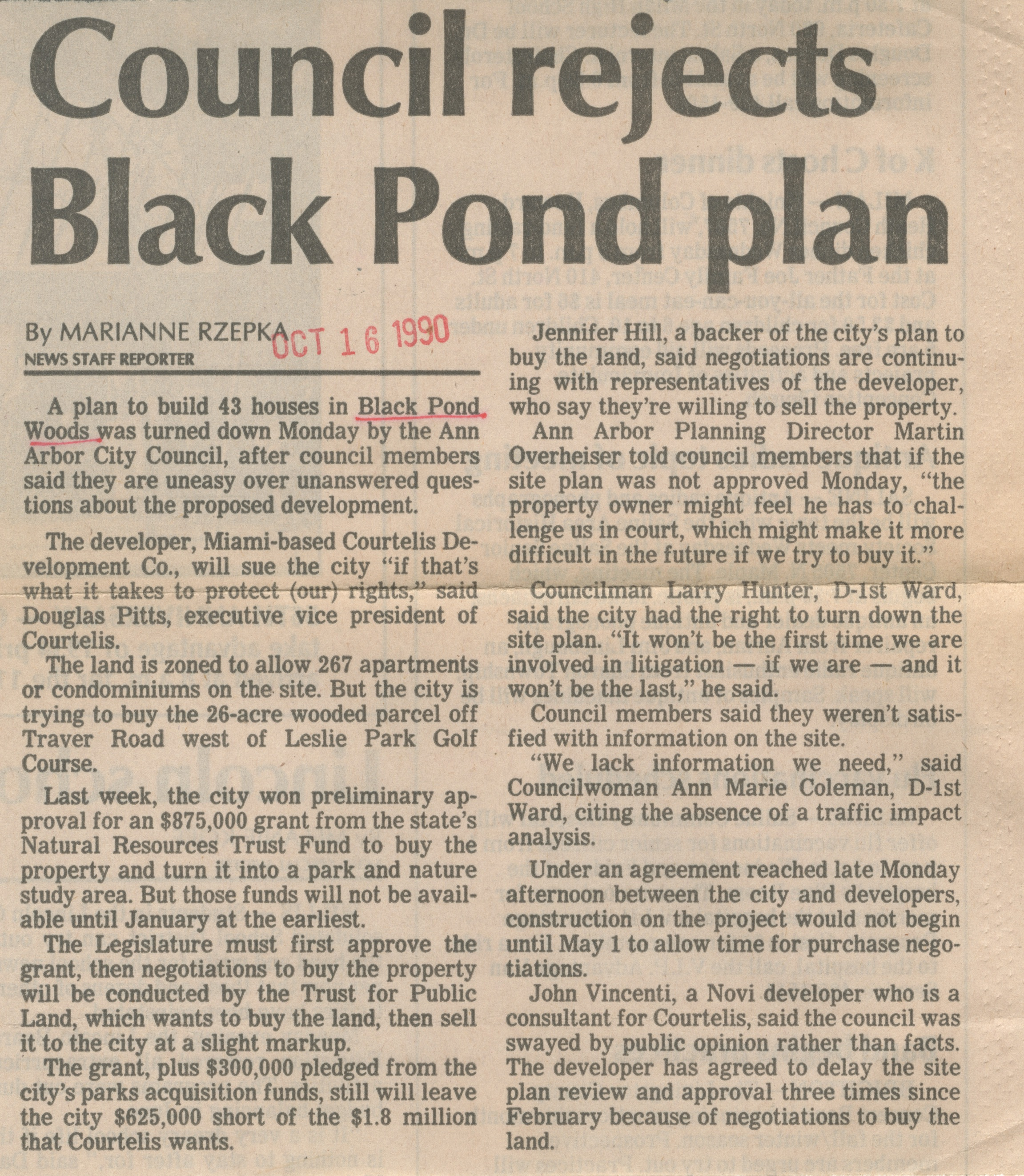 Council Rejects Black Pond Plan image