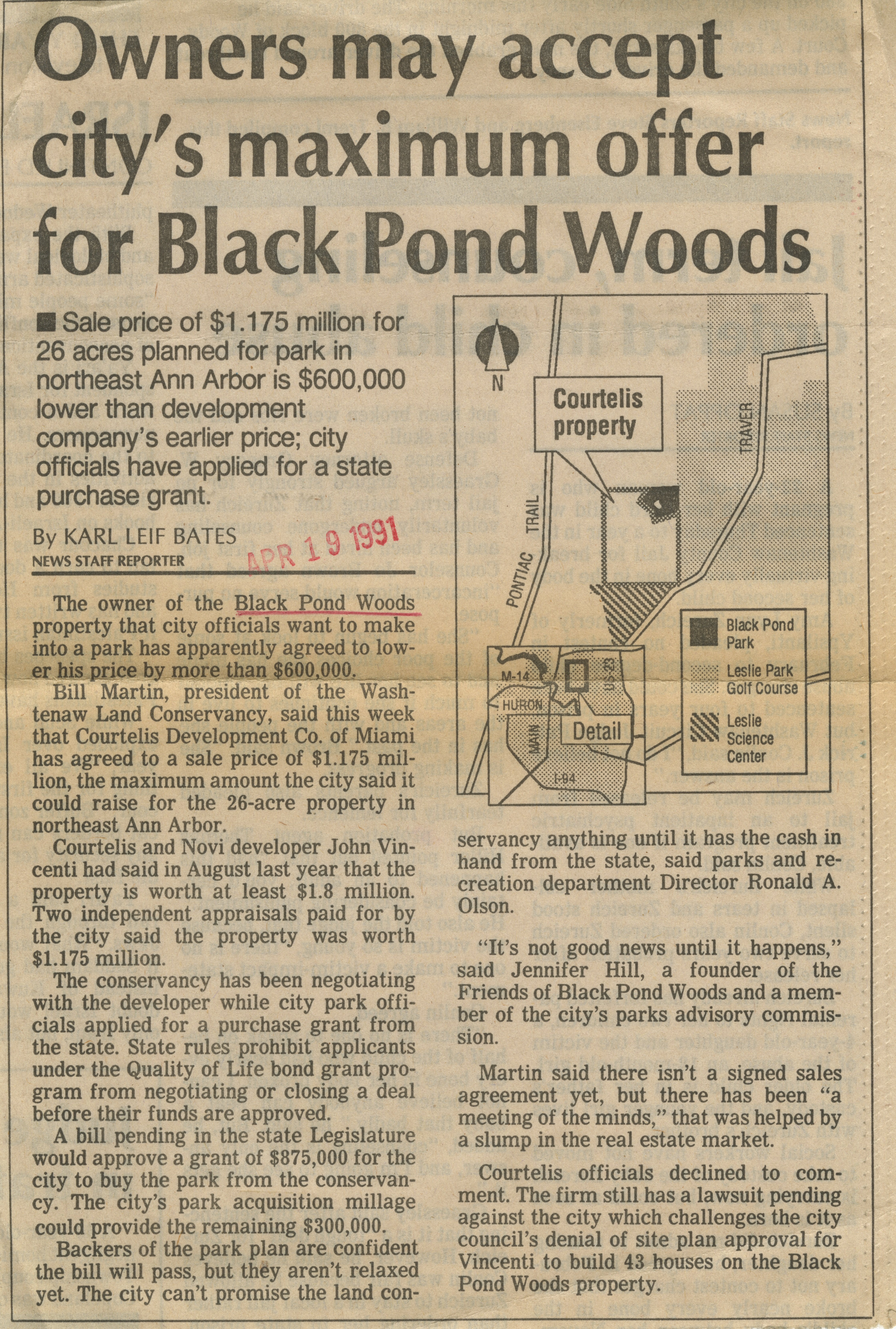 Owners May Accept City's Maximum Offer For Black Pond Woods image