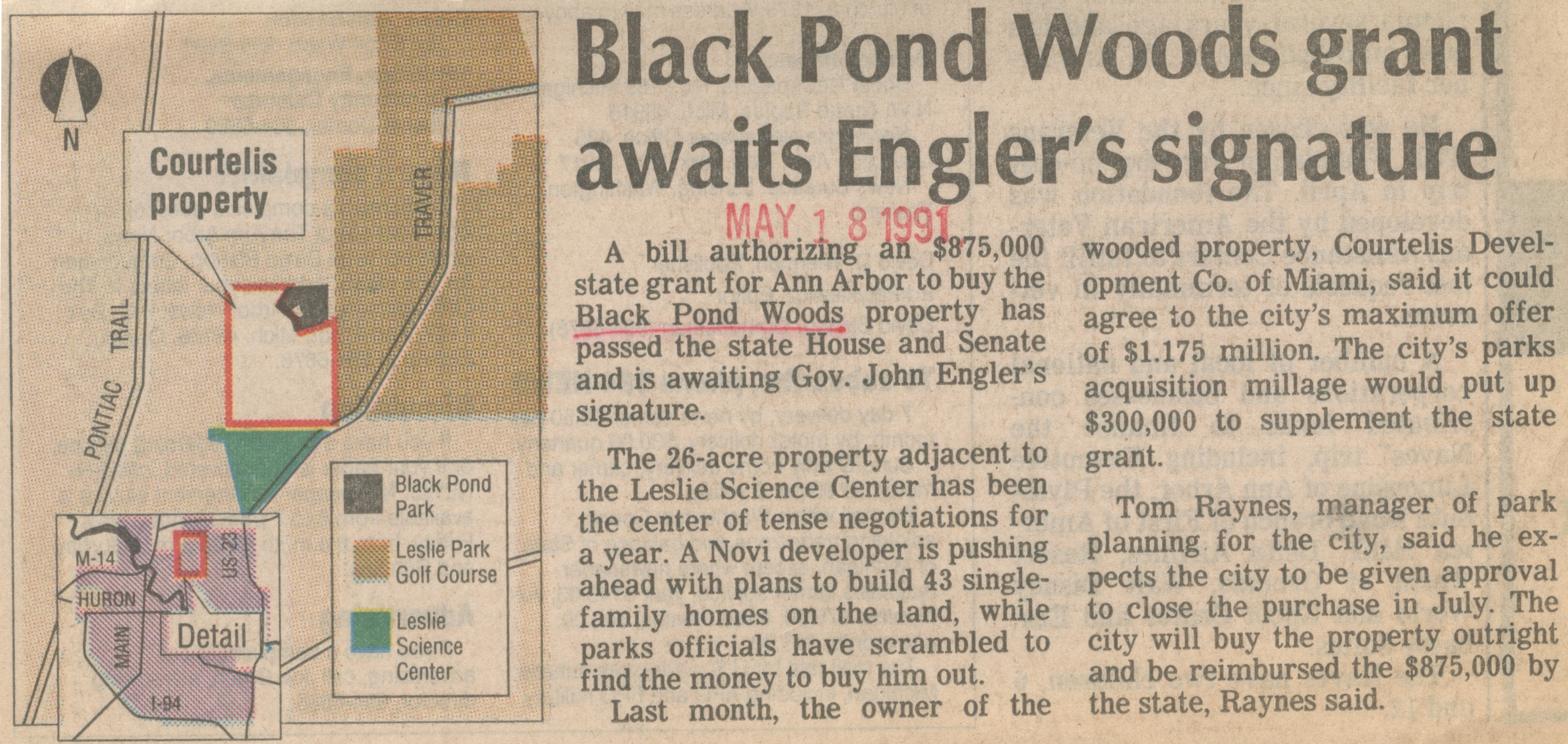 Black Pond Woods Grant Awaits Engler's Signature image