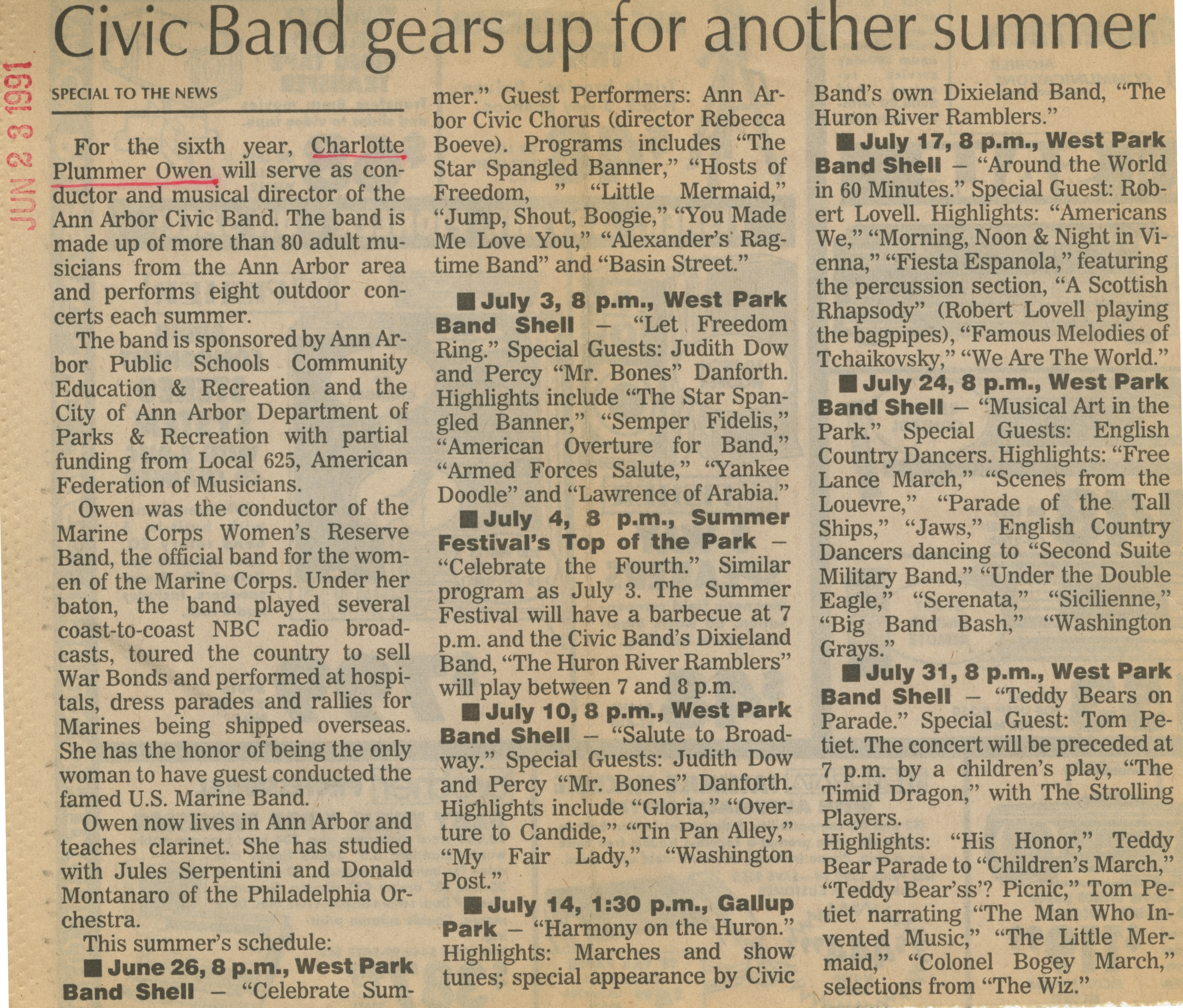 Civic Band gears up for another summer image