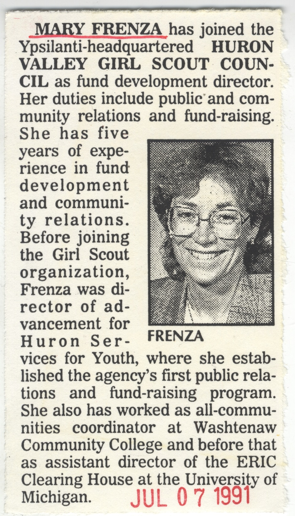 Mary Frenza has joined the Ypsilanti-headquartered Huron Valley Girl Scout Council image
