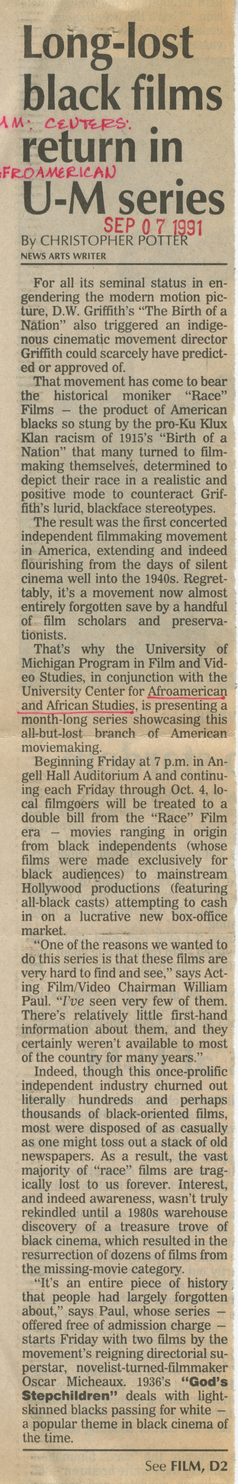 Long-lost black films return in U-M series image