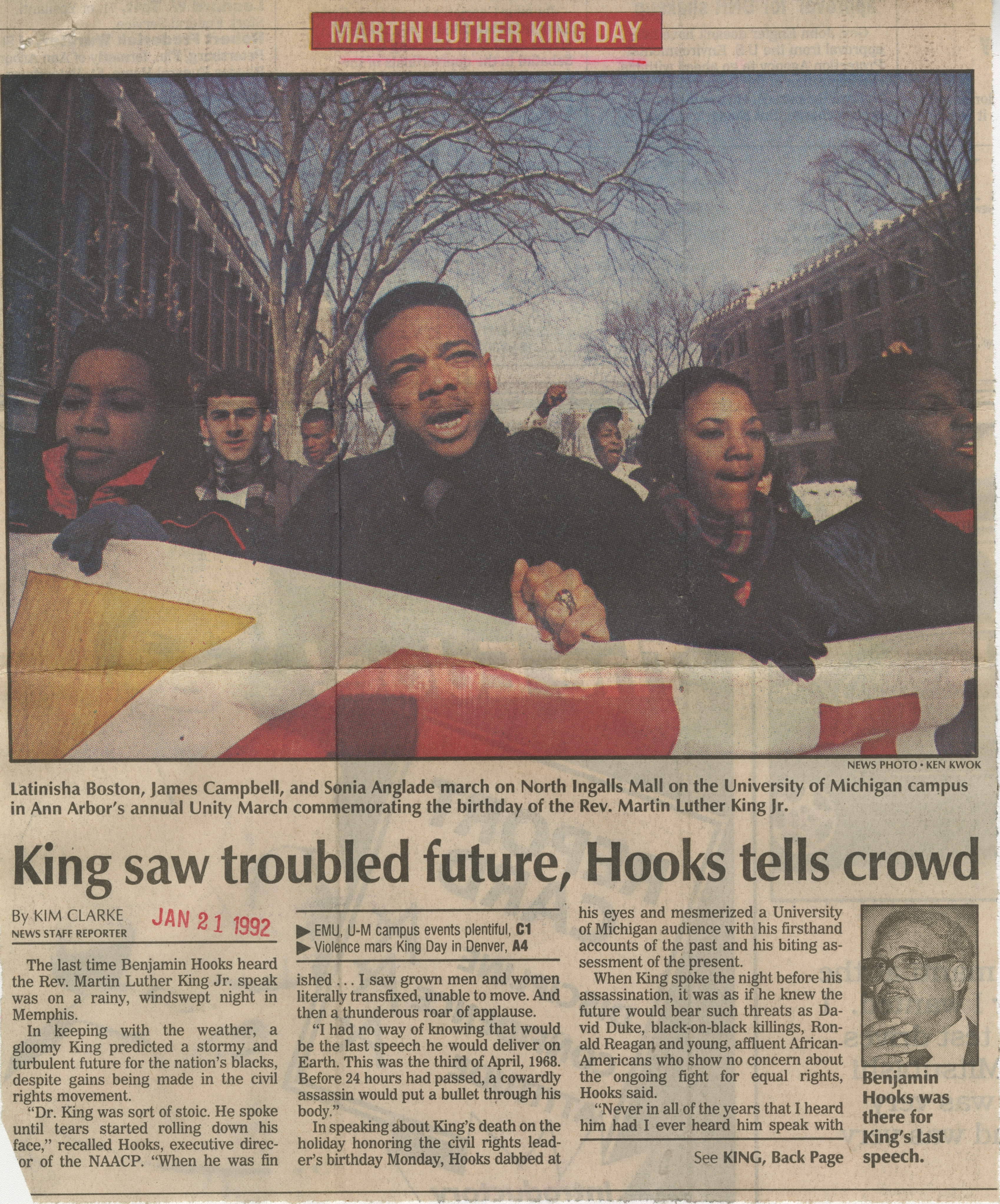 King saw troubled future, Hooks tells crowd image