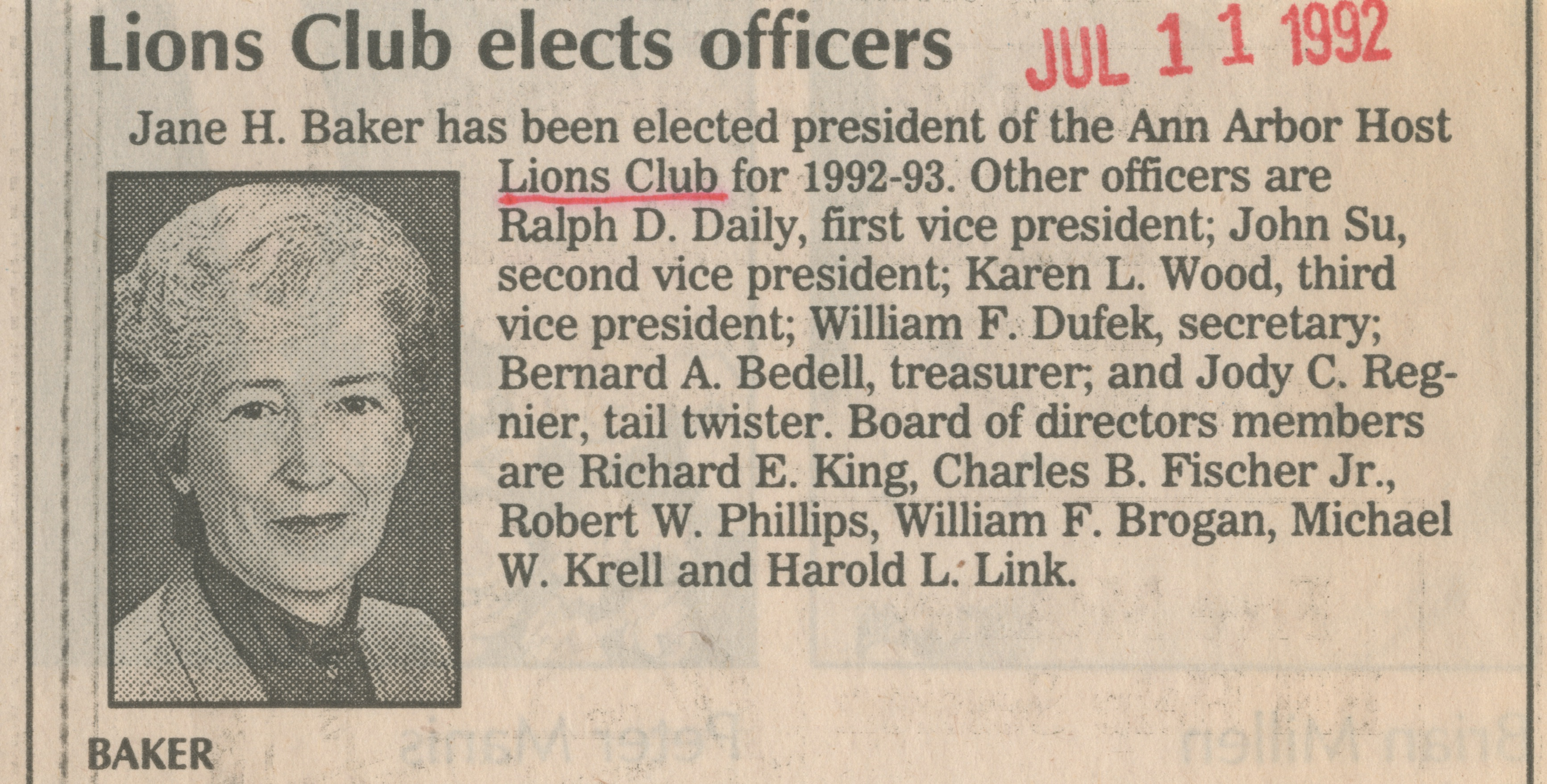 Lions Club elects officers image