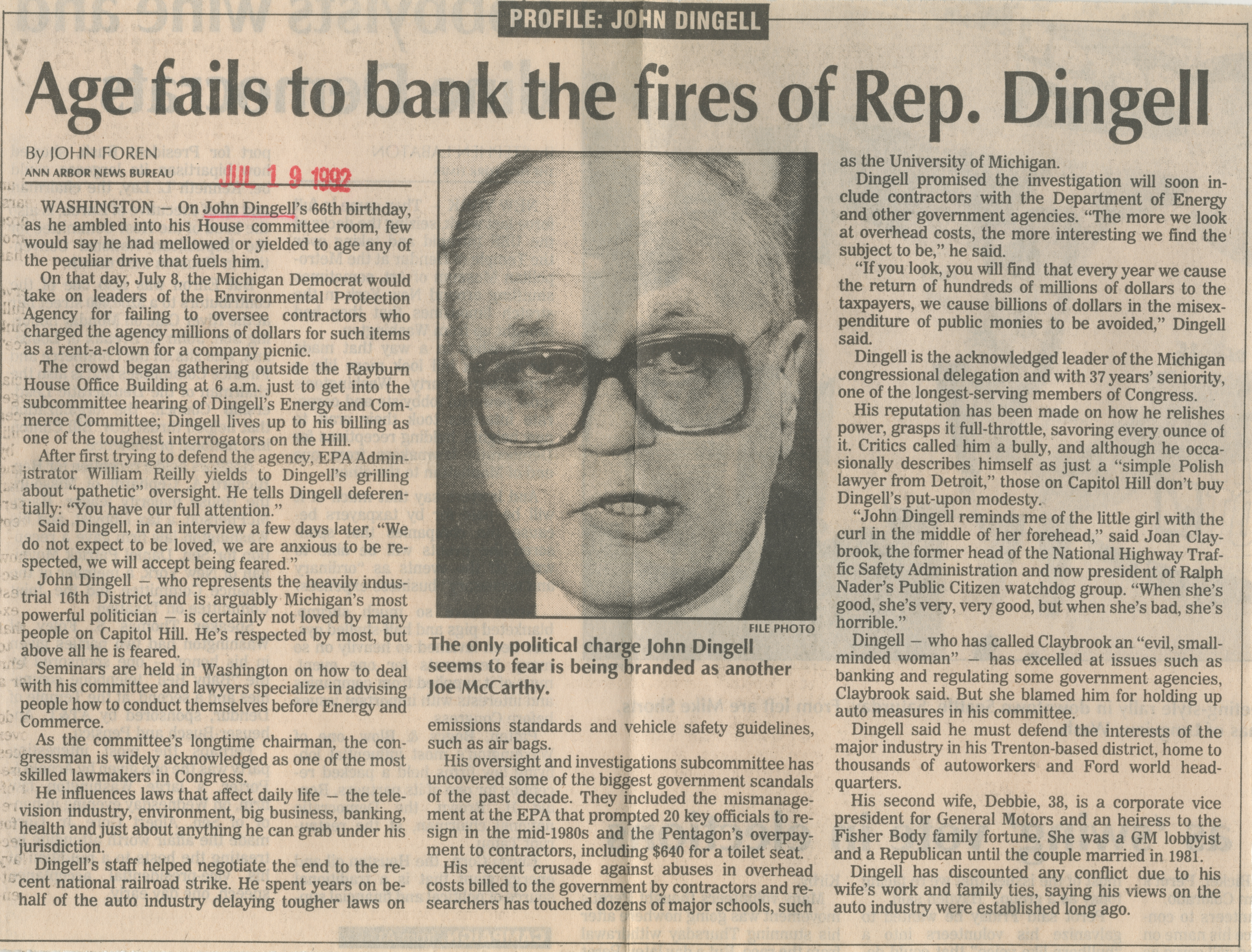 Age fails to bank the fires of Rep. Dingell image