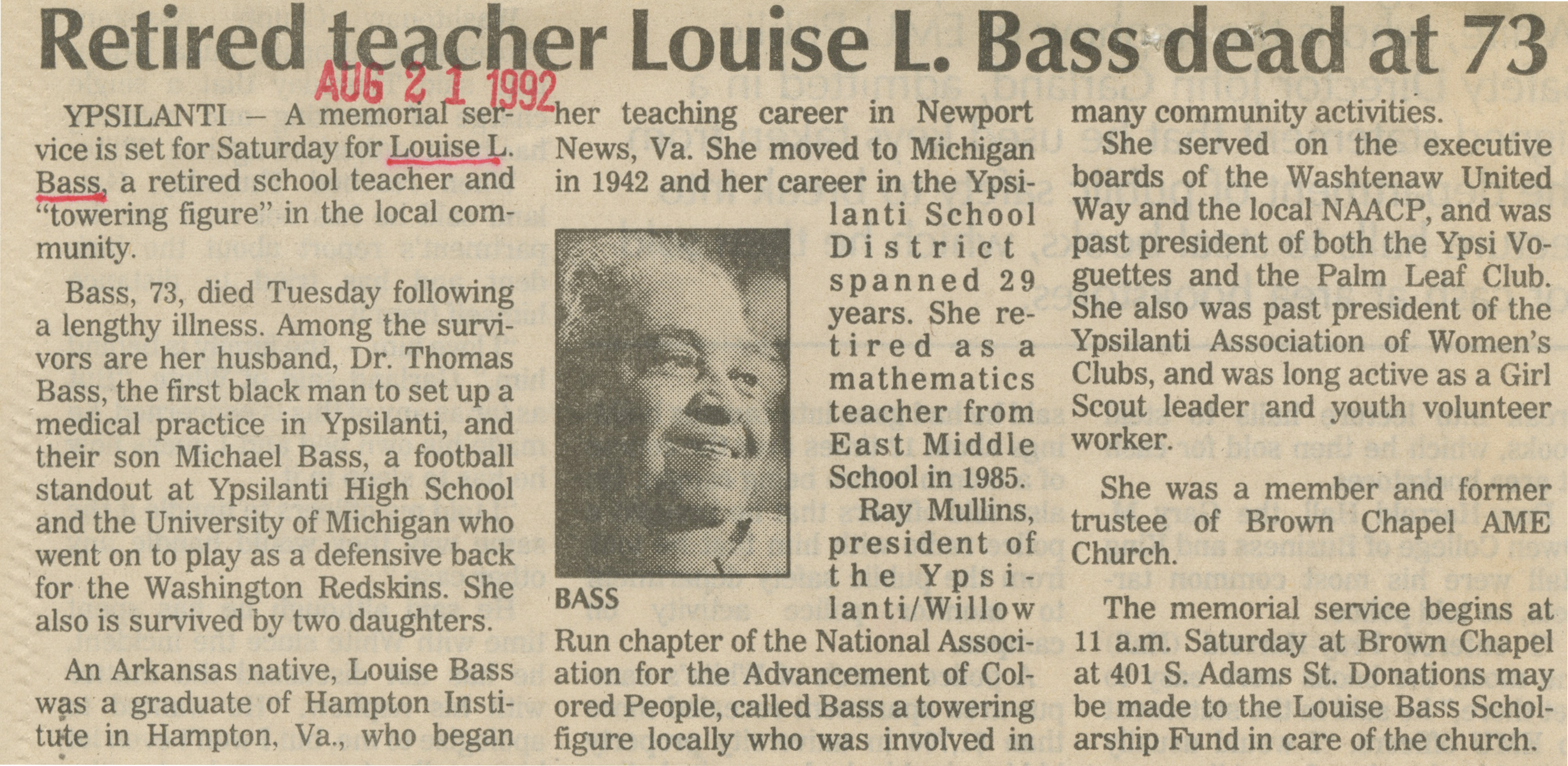 Retired teacher Louise L. Bass dead at 73 image