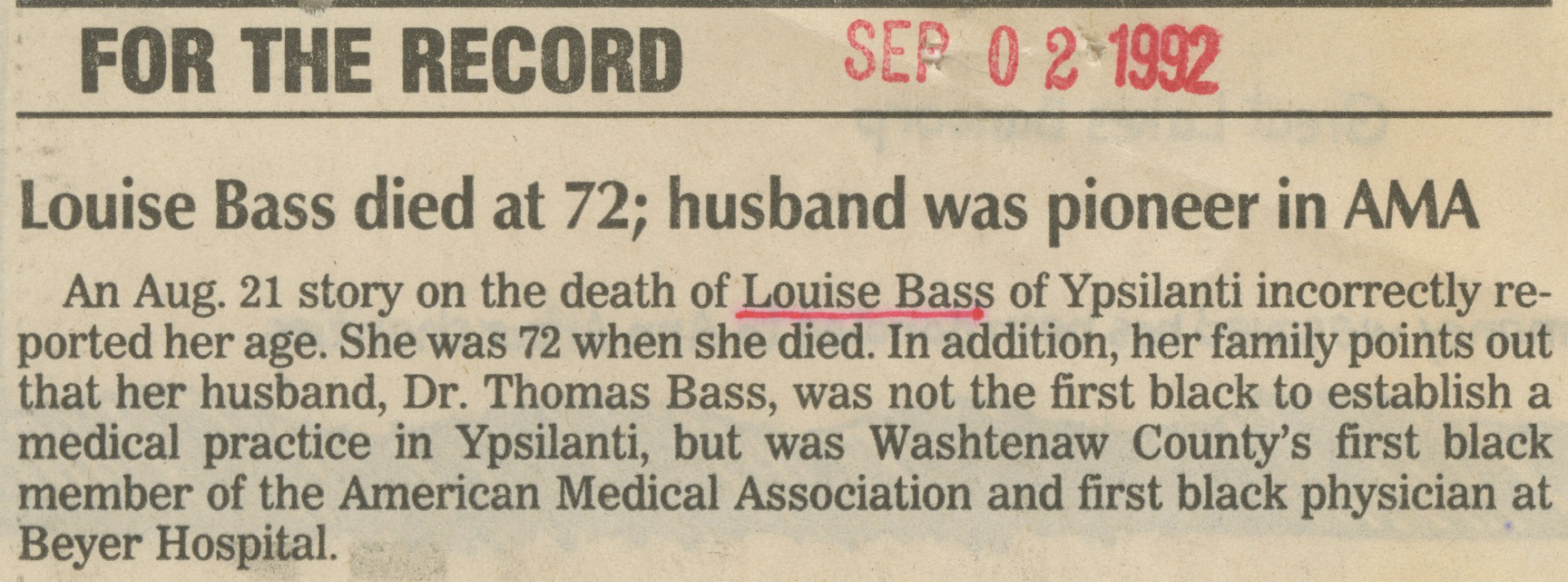 Louise Bass died at 72; husband was pioneer in AMA image