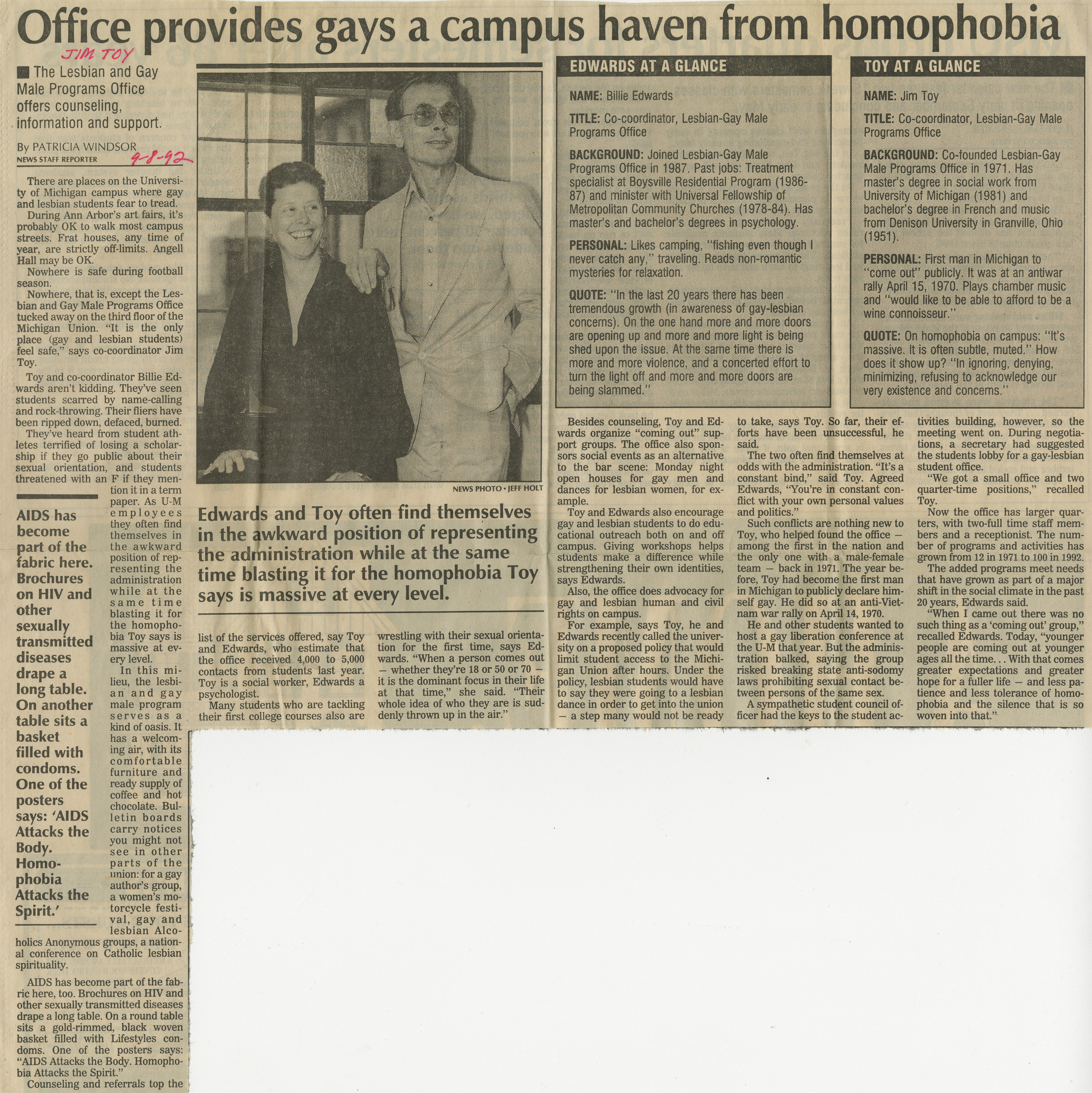 Office provides gays a campus haven from homophobia image