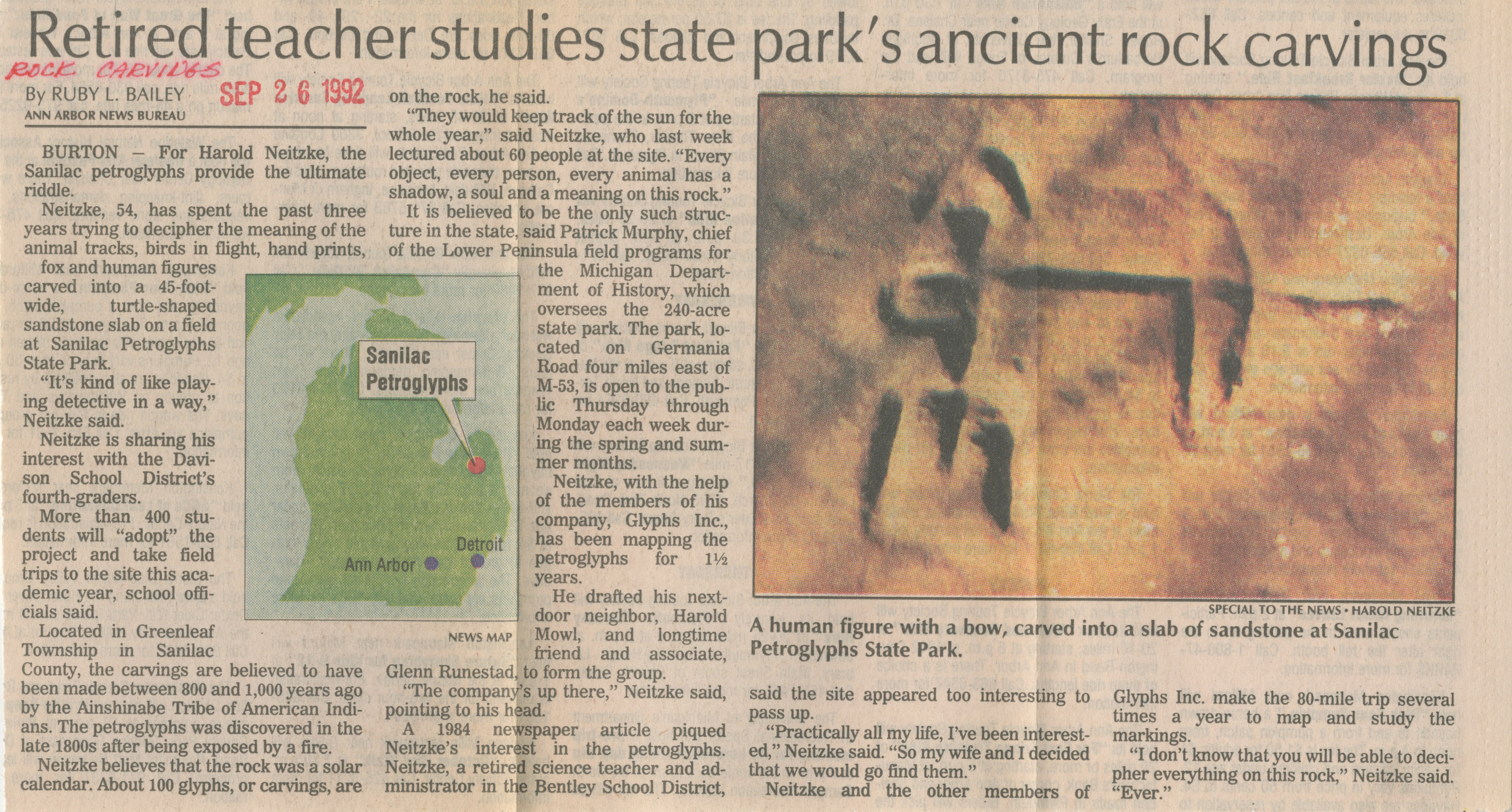 Retired Teacher Studies State Park's Ancient Rock Carvings  image