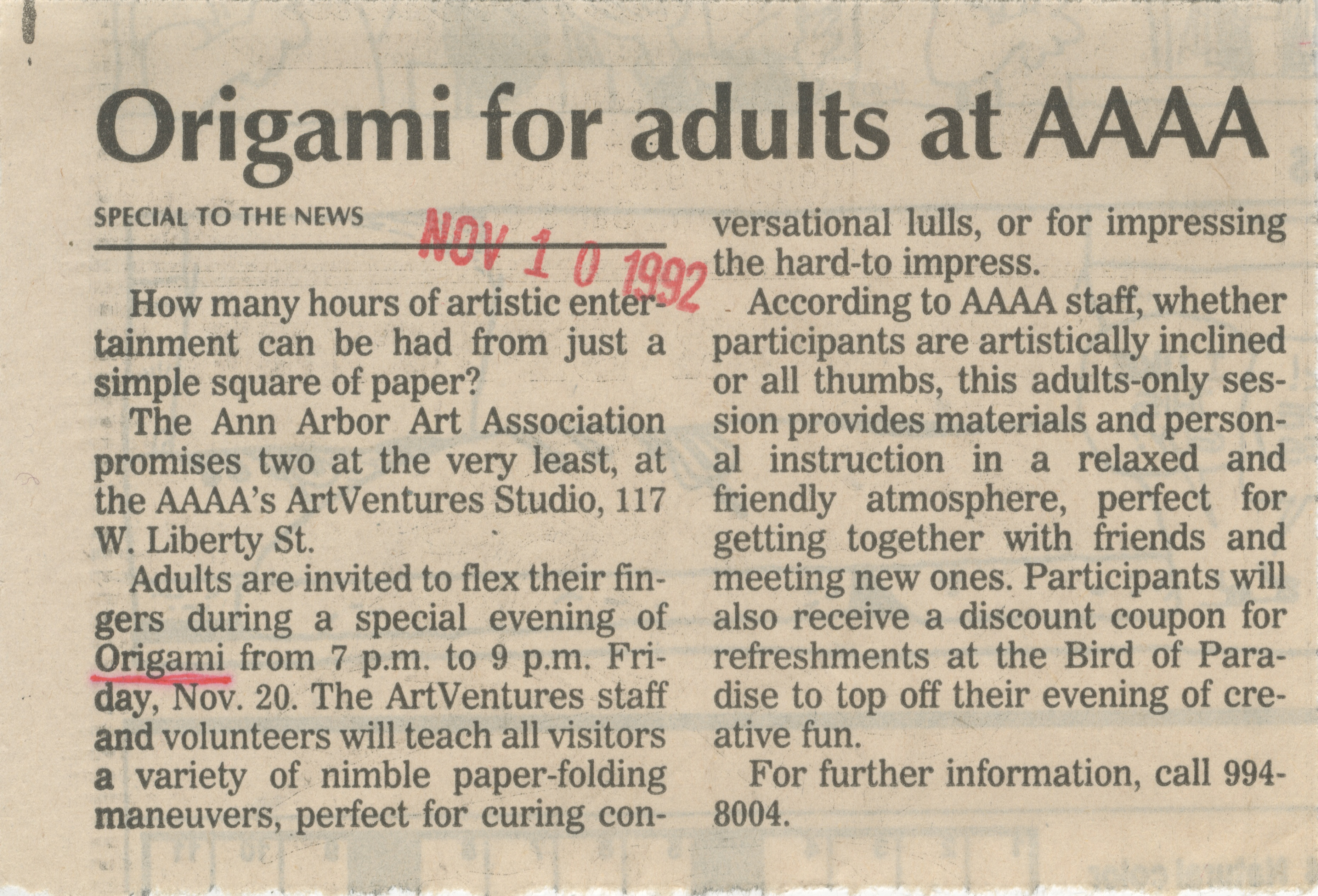 Origami For Adults At AAAA image