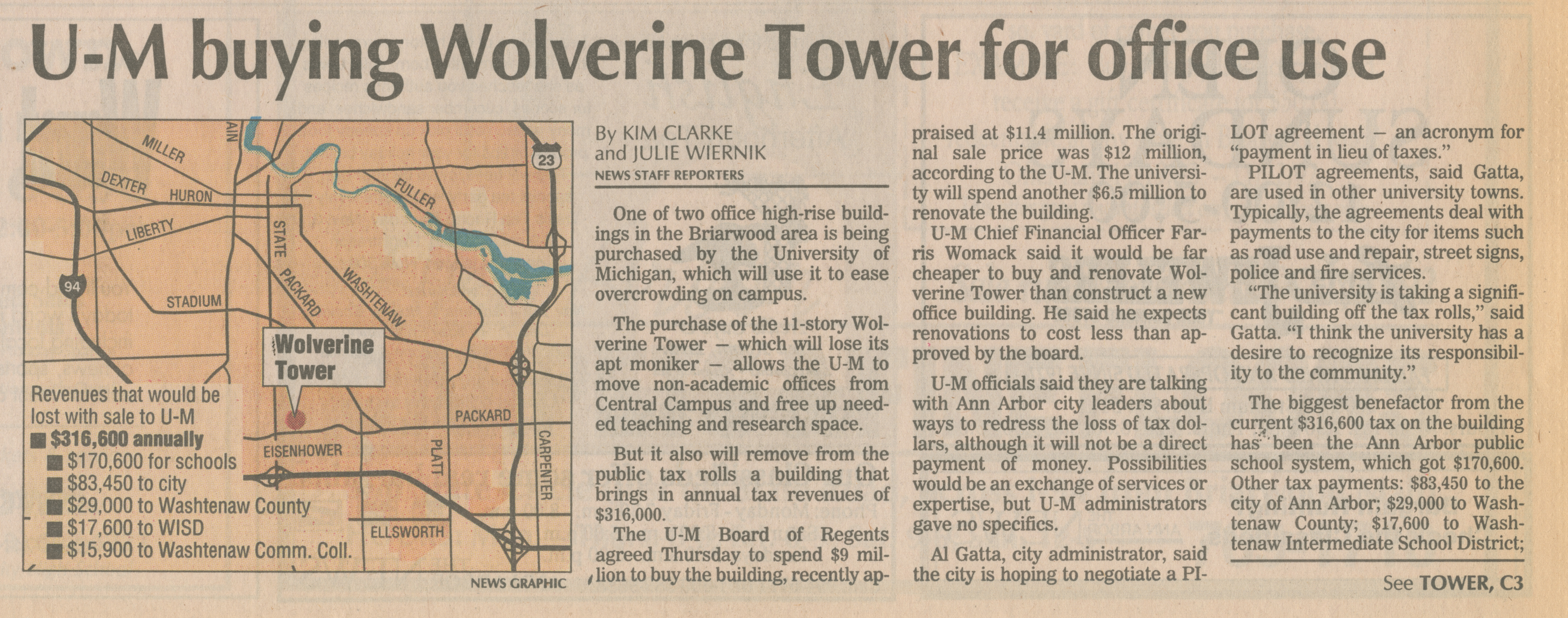 U-M buying Wolverine Tower for office use image