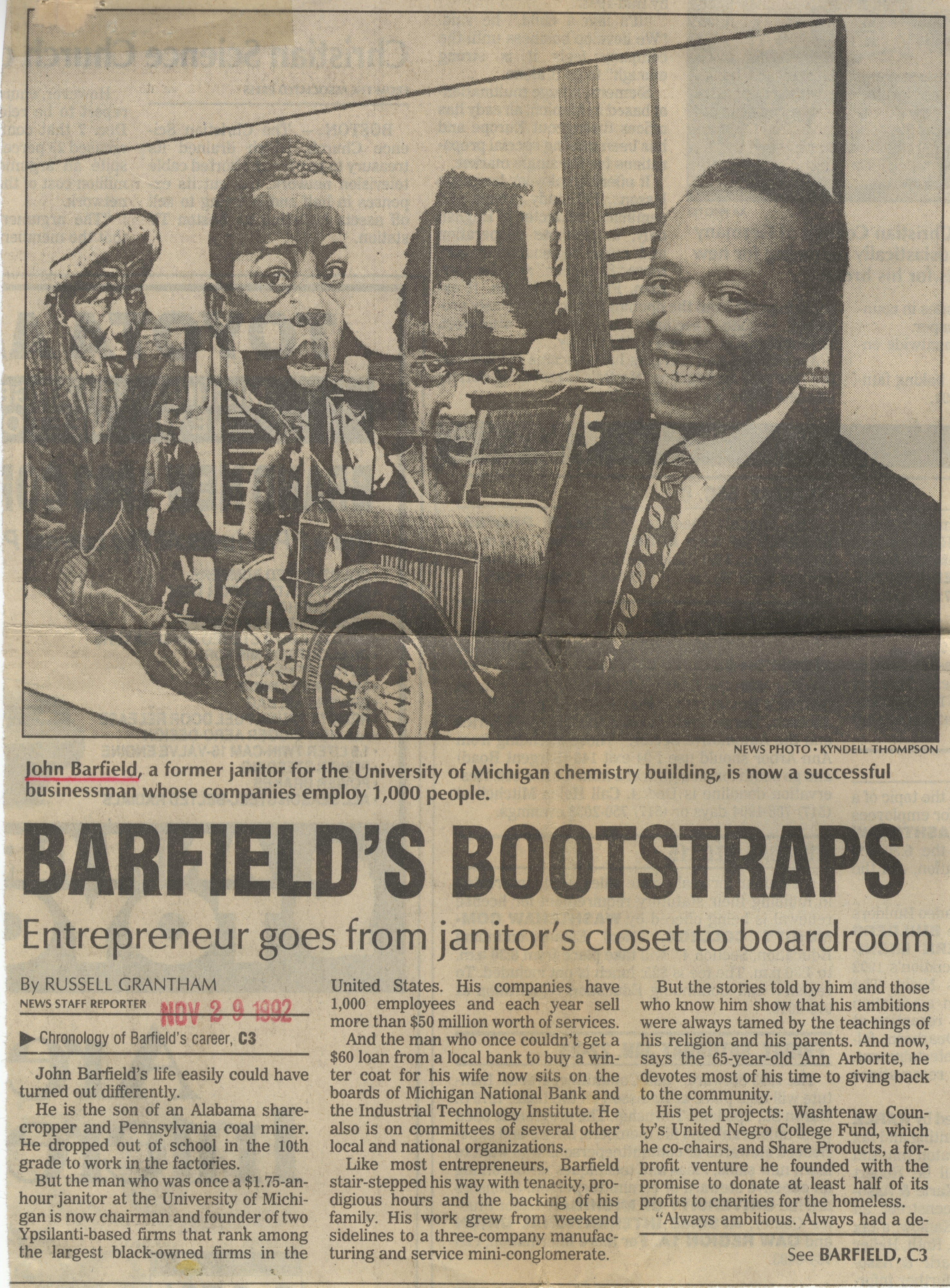 Barfield's Bootstraps: Entrepreneur Goes From Janitor's Closet To Boardroom image