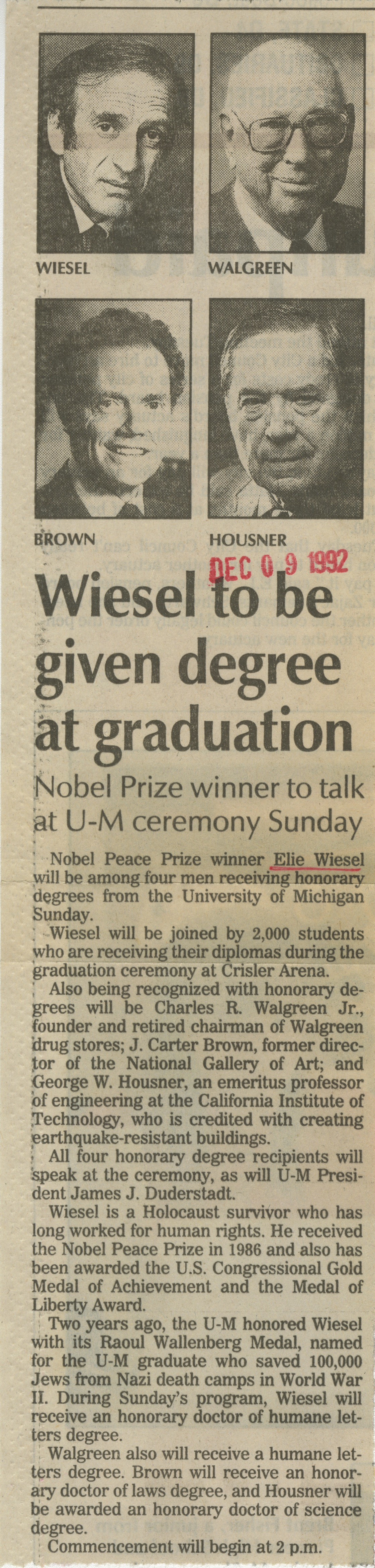 Wiesel To Be Given Degree At Graduation image