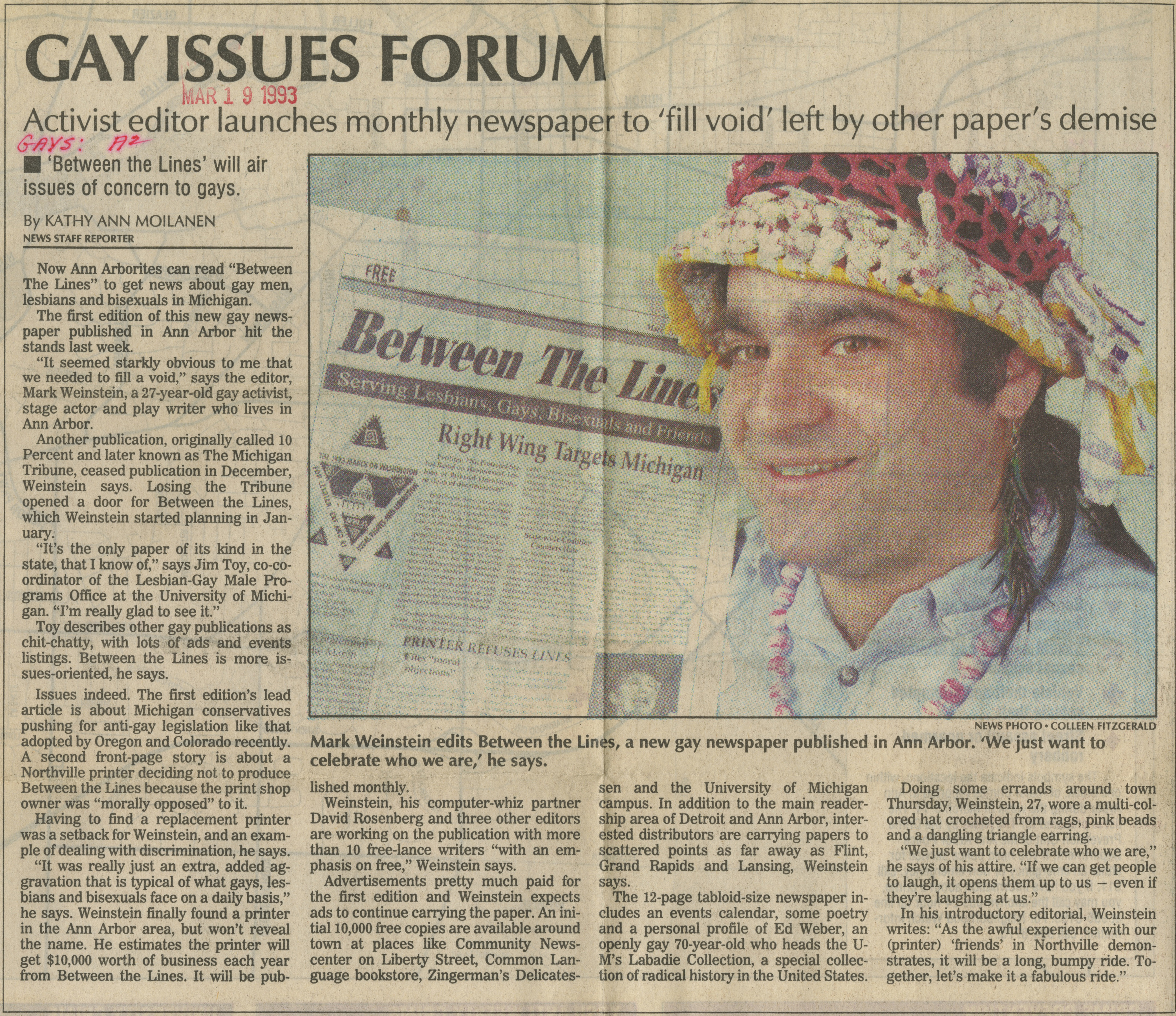 Gay Issues Forum, Activist Editor Launches Monthly Newspaper To 'Fill Void' Left By Other Papers' Demise image