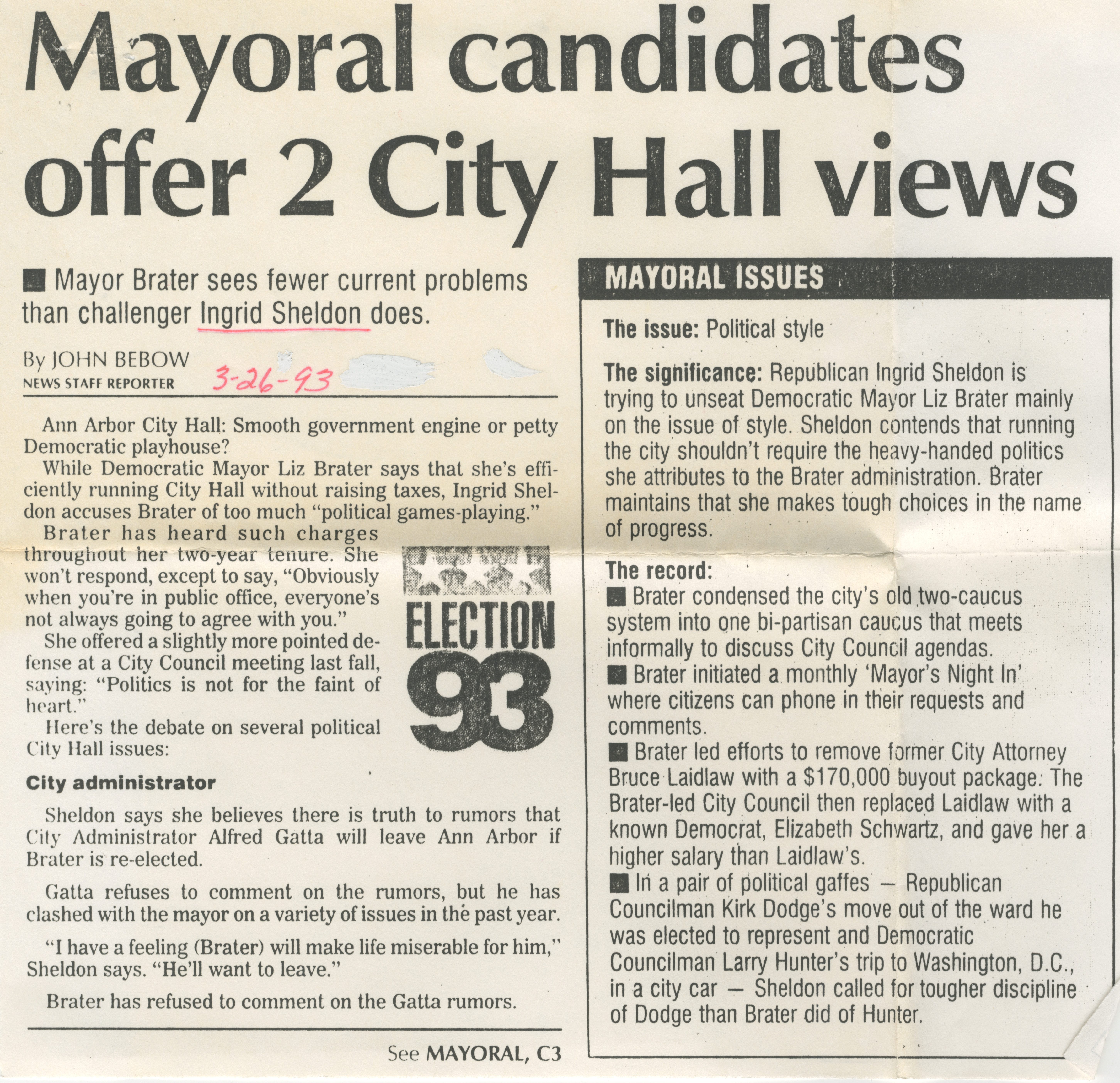 Mayoral candidates offer 2 City Hall views image