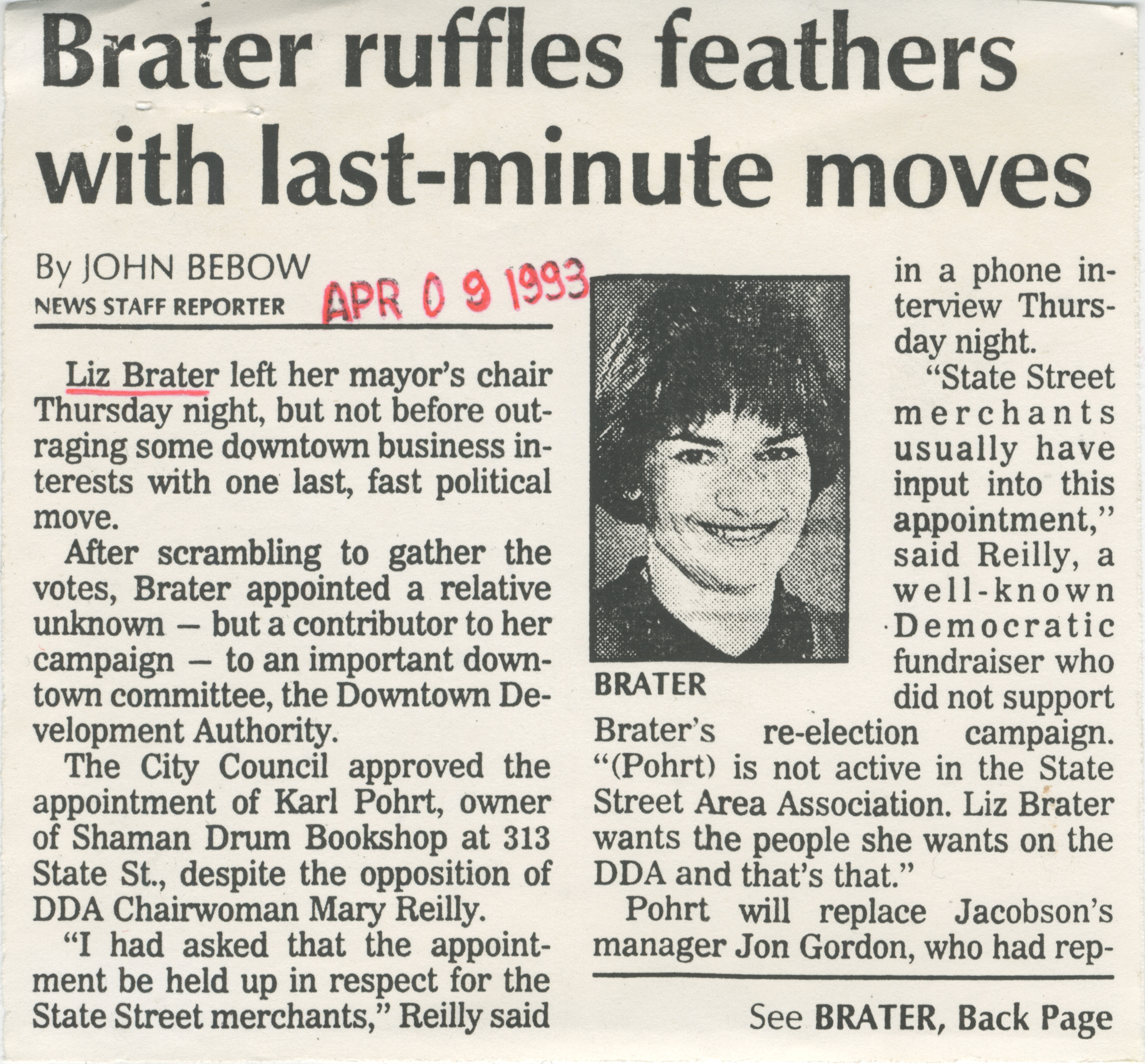 Brater ruffles feathers with last-minute moves image