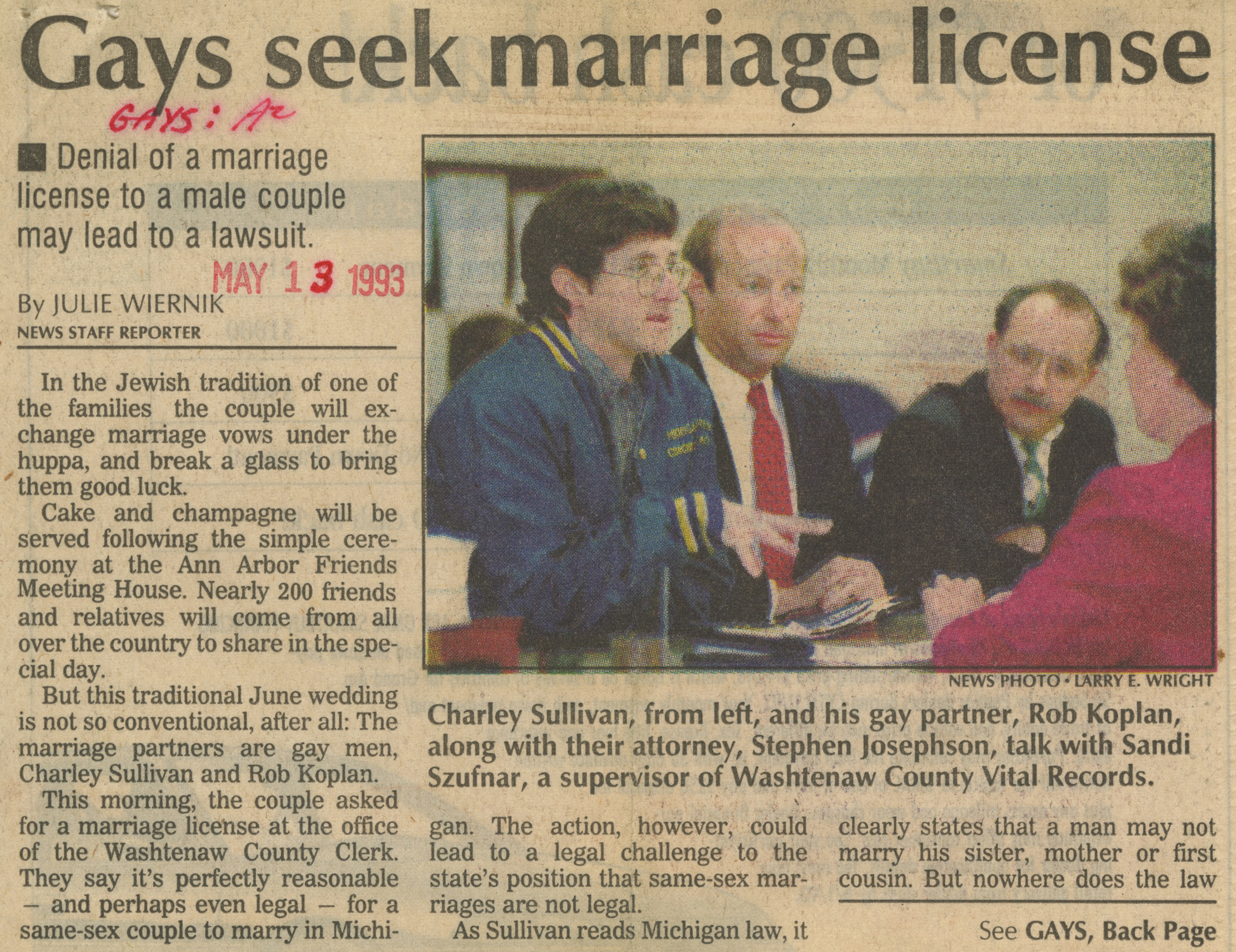 Gays Seek Marriage License image