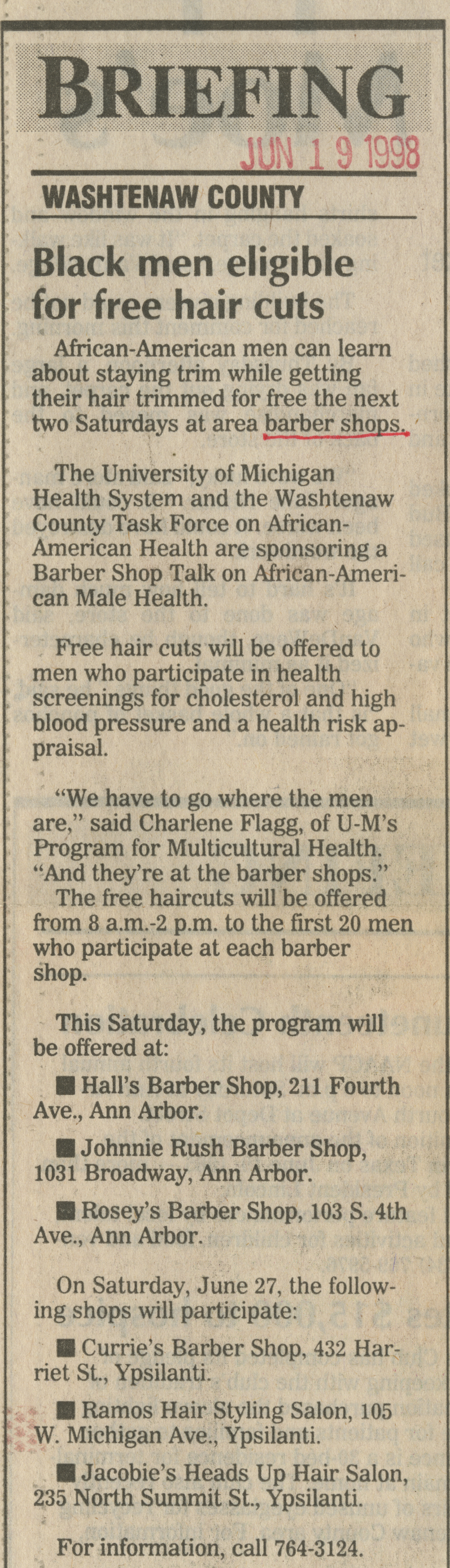 Black men eligible for free hair cuts image