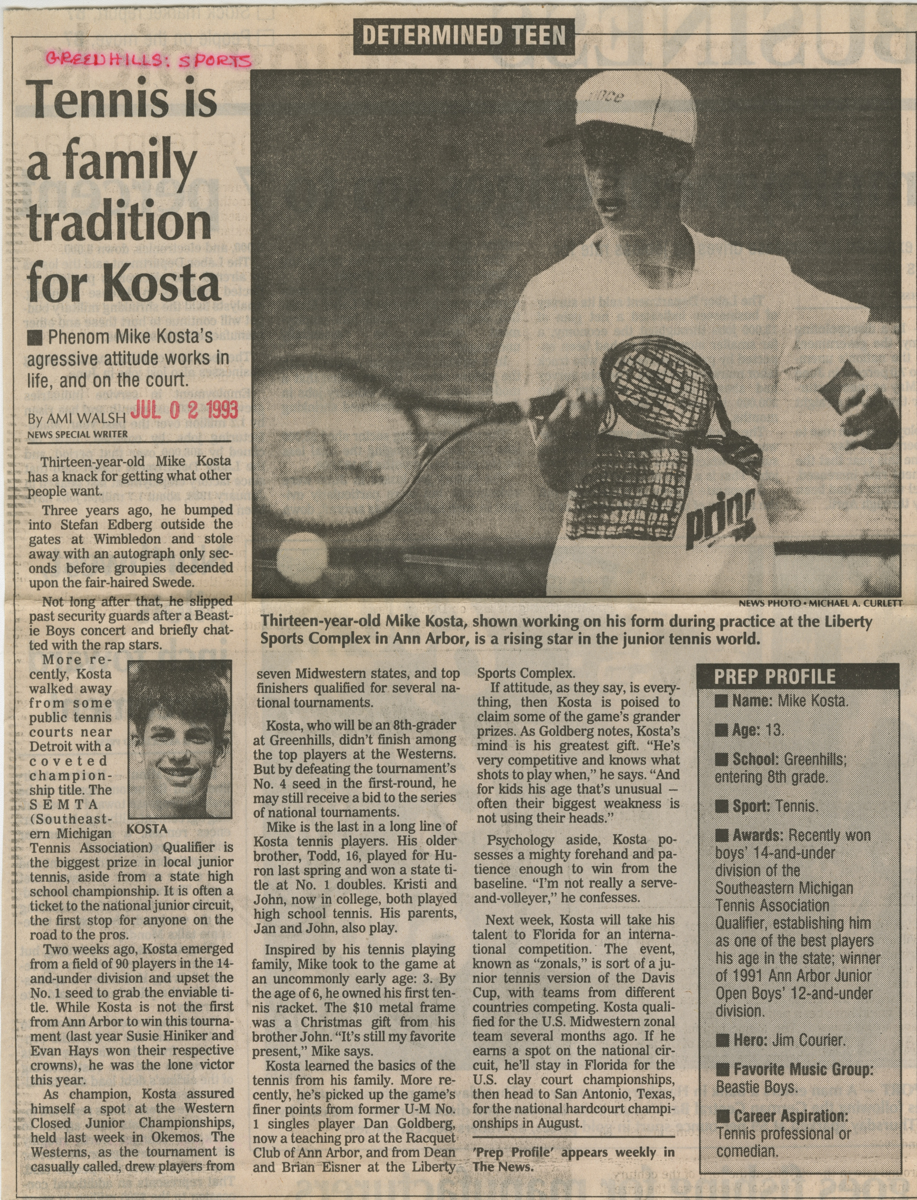 Tennis Is A Family Tradition For Kosta image
