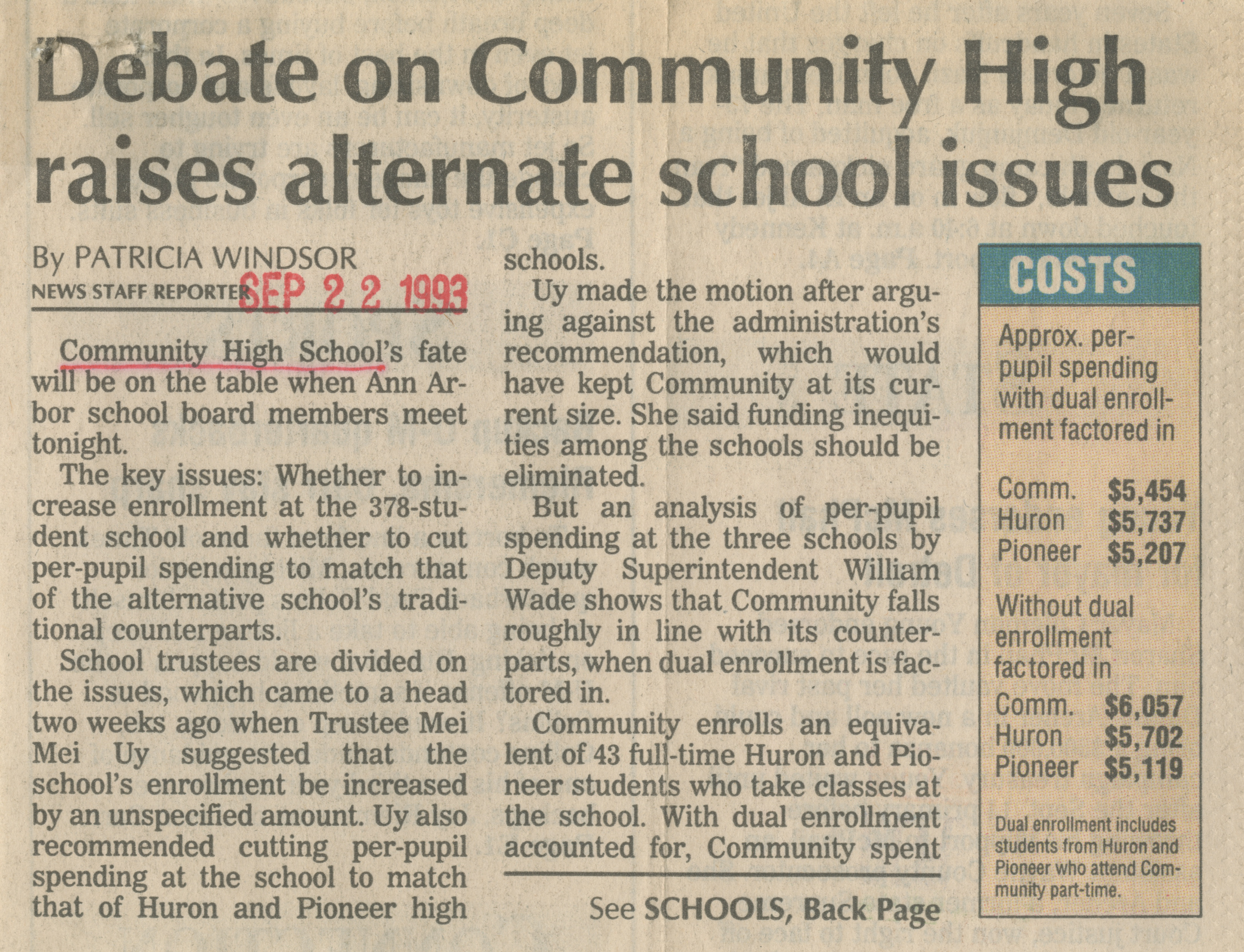 Debate on Community High raises alternate school issues image