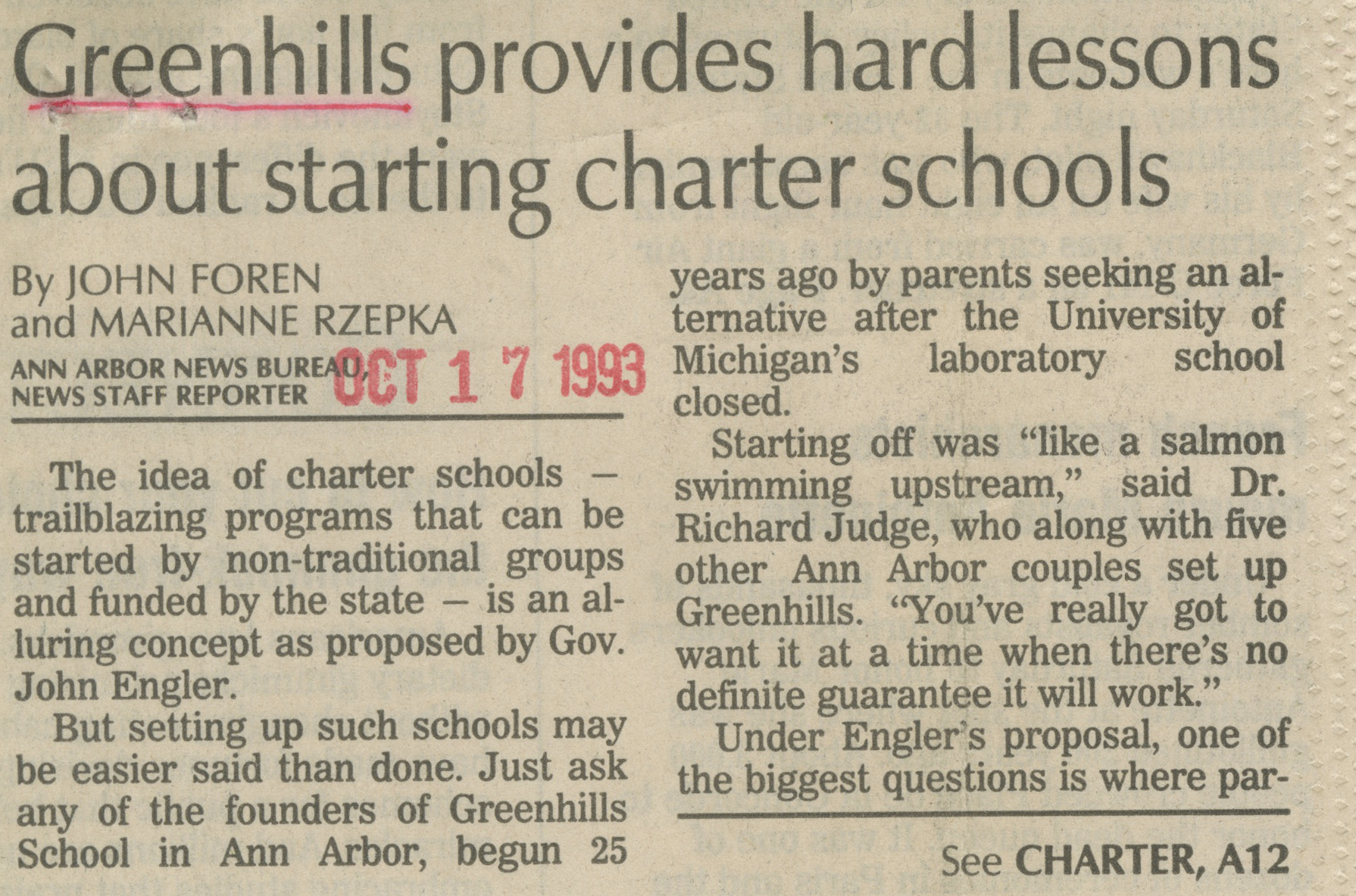 Greenhills Provides Hard Lessons About Starting Charter Schools image