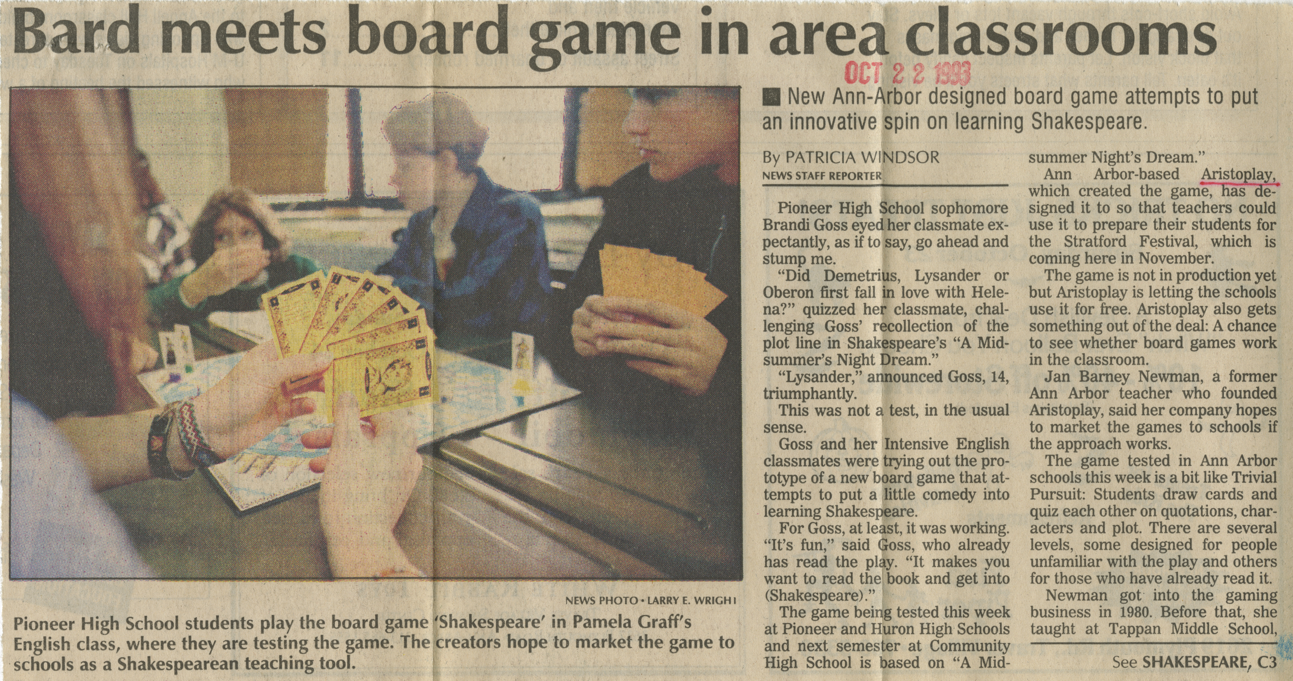Bard meets board game in area classrooms image