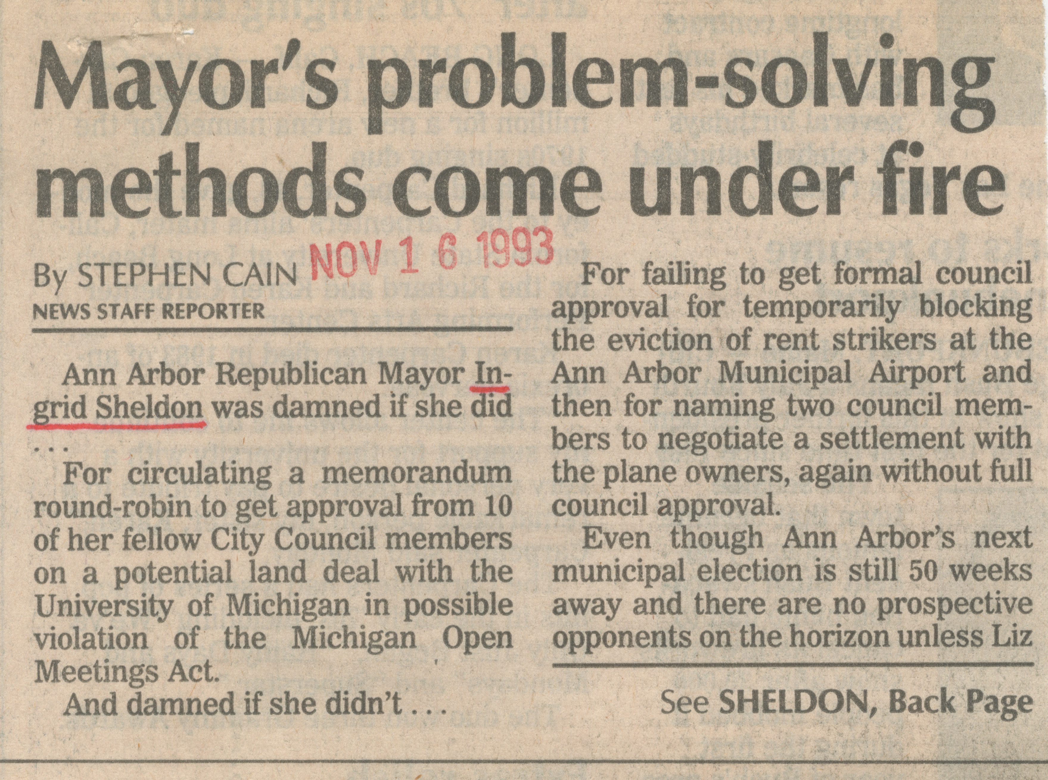 Mayor's problem-solving methods come under fire image